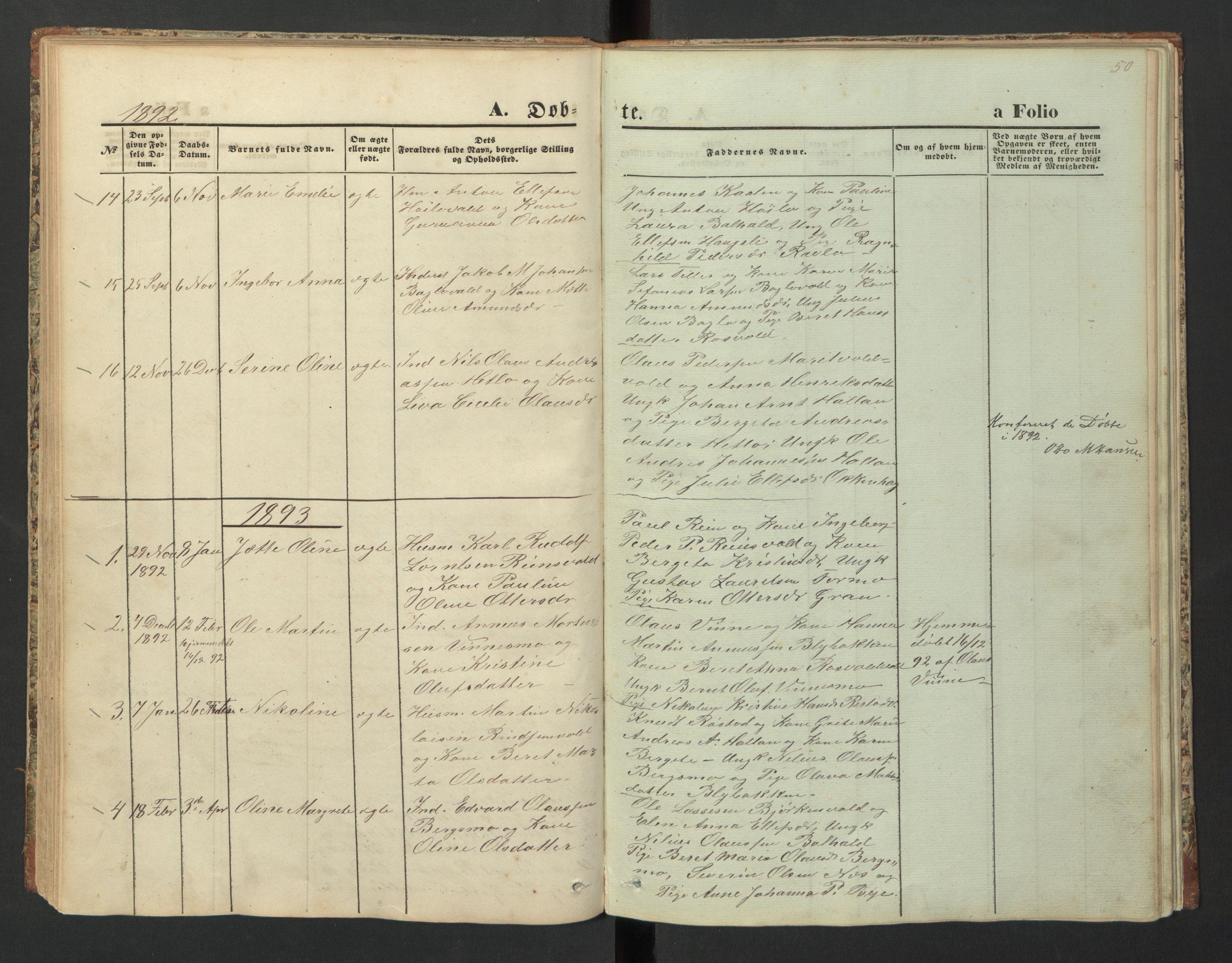 SAT, Ministerialprotokoller, klokkerbøker og fødselsregistre - Nord-Trøndelag, 726/L0271: Klokkerbok nr. 726C02, 1869-1897, s. 50