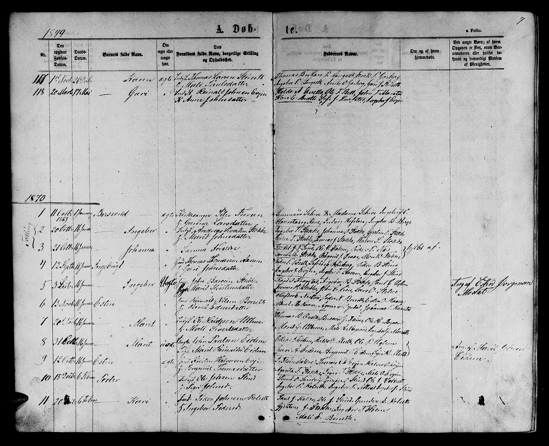 SAT, Ministerialprotokoller, klokkerbøker og fødselsregistre - Sør-Trøndelag, 695/L1156: Klokkerbok nr. 695C07, 1869-1888, s. 7