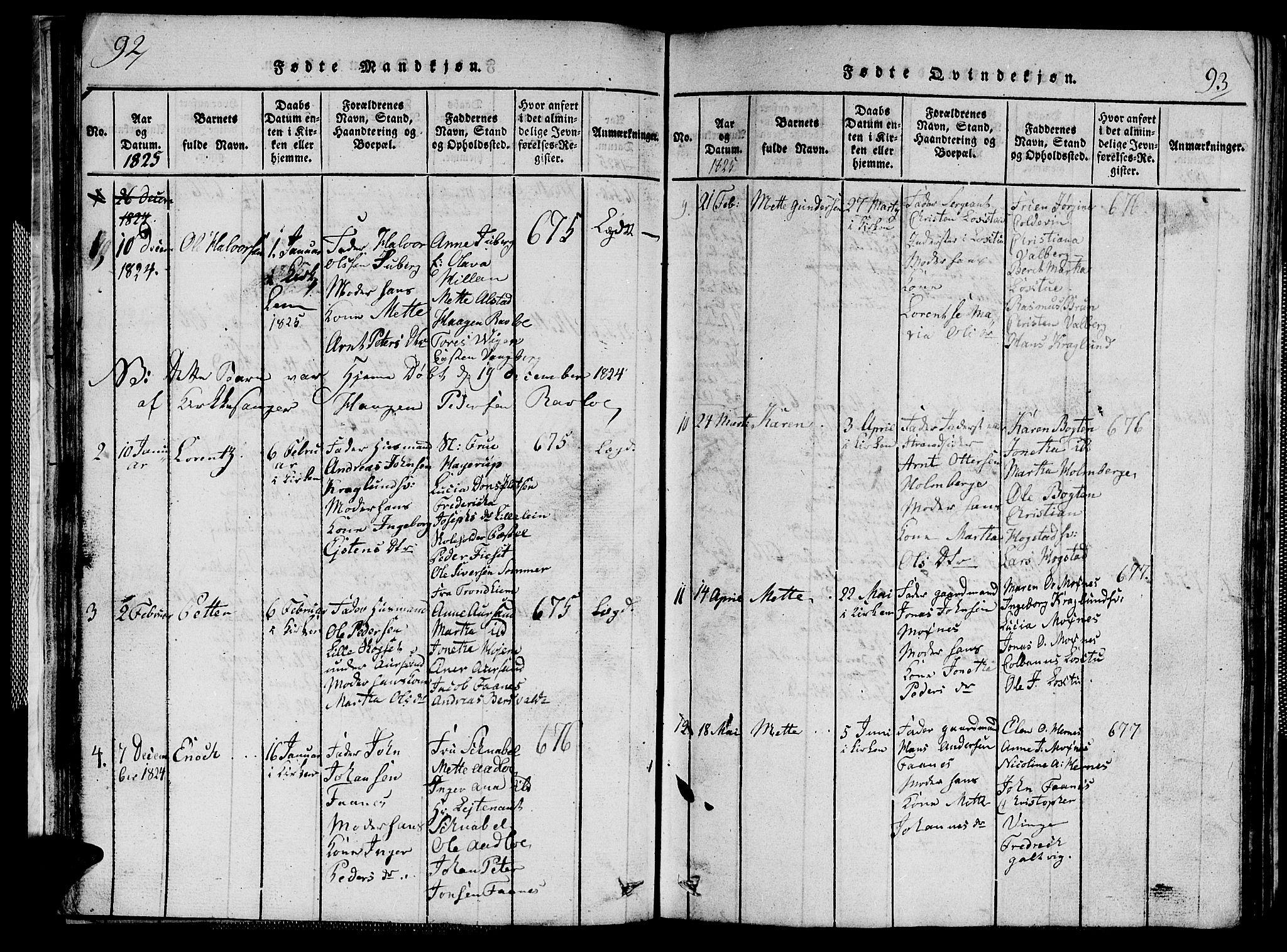 SAT, Ministerialprotokoller, klokkerbøker og fødselsregistre - Nord-Trøndelag, 713/L0124: Klokkerbok nr. 713C01, 1817-1827, s. 92-93