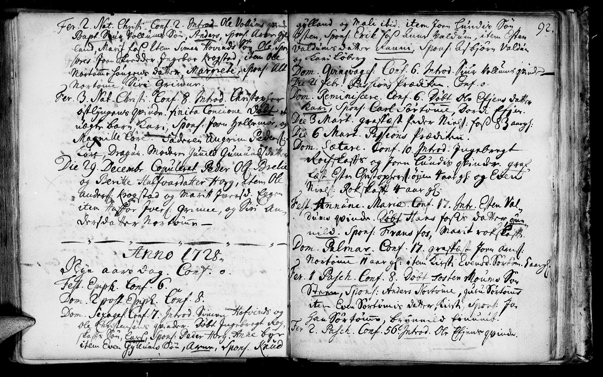 SAT, Ministerialprotokoller, klokkerbøker og fødselsregistre - Sør-Trøndelag, 692/L1101: Ministerialbok nr. 692A01, 1690-1746, s. 92
