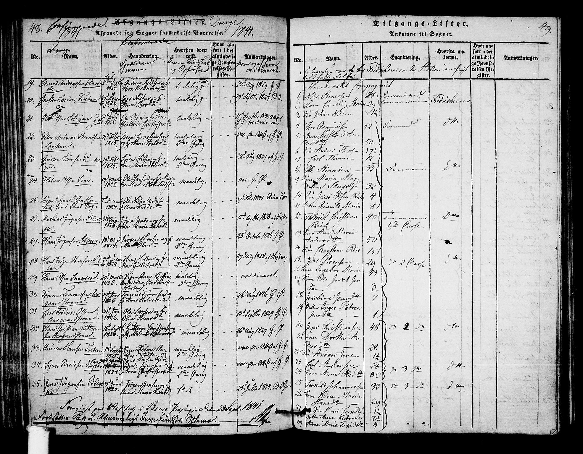 SAKO, Borre kirkebøker, F/Fa/L0004: Ministerialbok nr. I 4, 1815-1845, s. 48-49