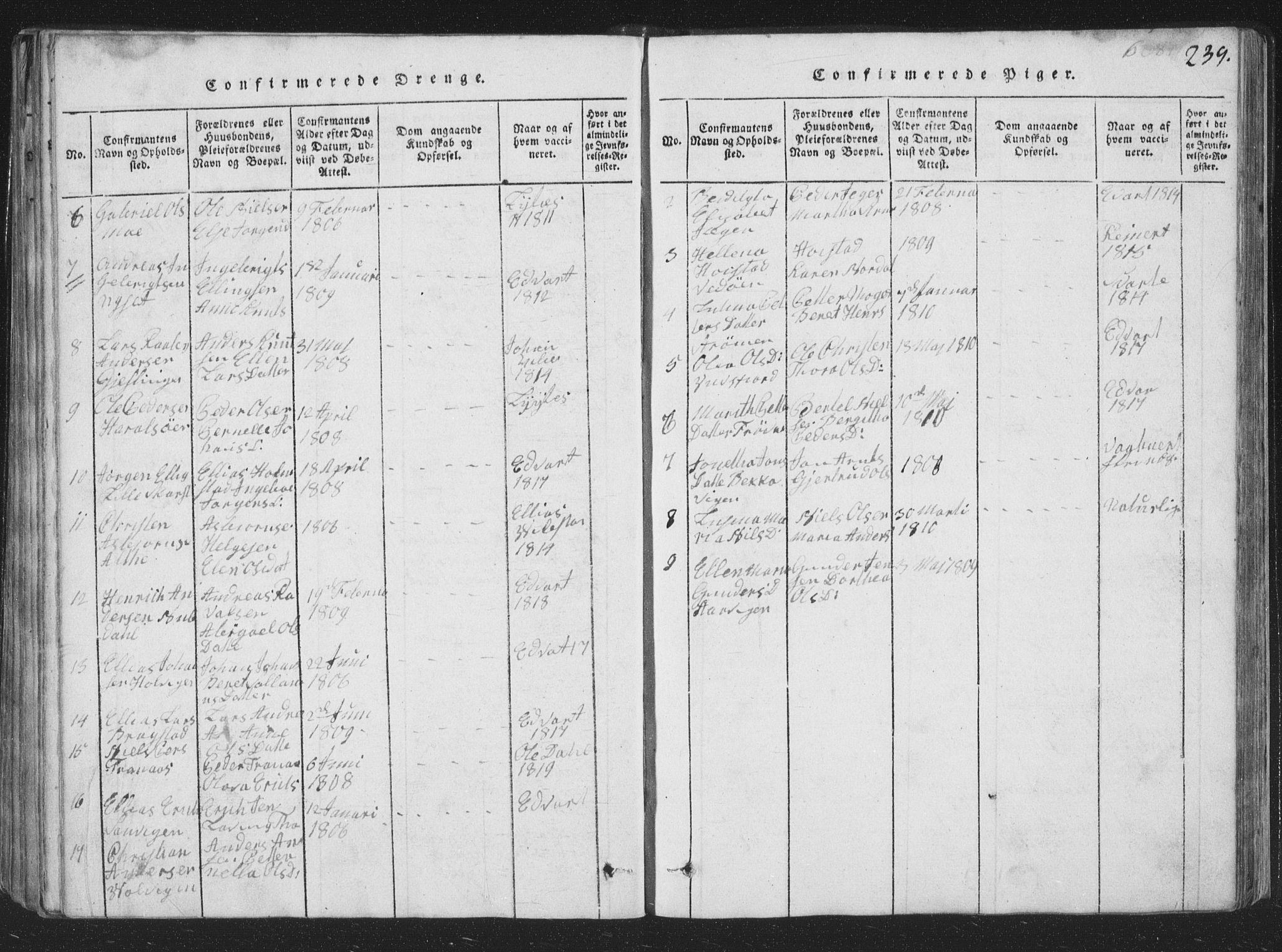 SAT, Ministerialprotokoller, klokkerbøker og fødselsregistre - Nord-Trøndelag, 773/L0613: Ministerialbok nr. 773A04, 1815-1845, s. 239