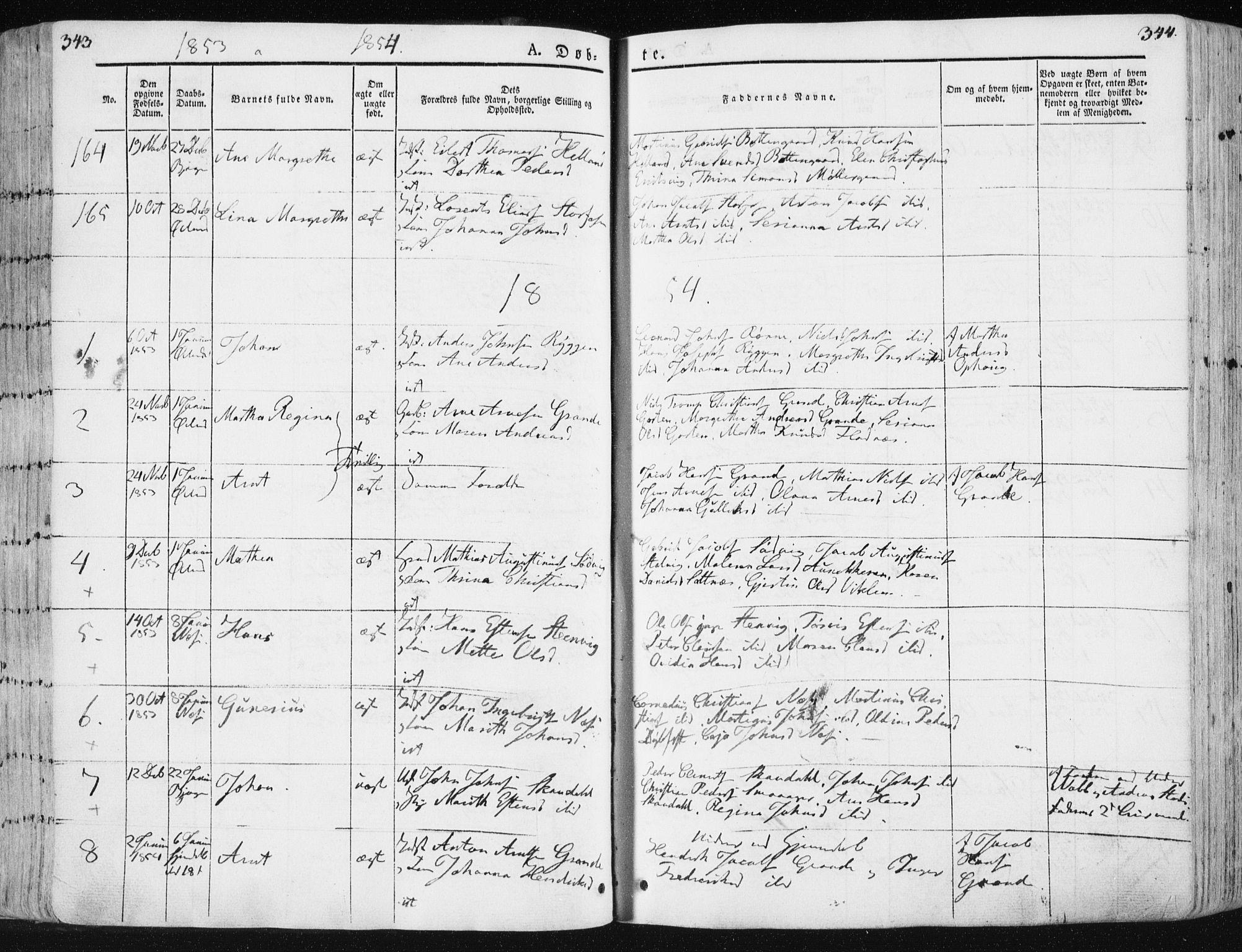 SAT, Ministerialprotokoller, klokkerbøker og fødselsregistre - Sør-Trøndelag, 659/L0736: Ministerialbok nr. 659A06, 1842-1856, s. 343-344