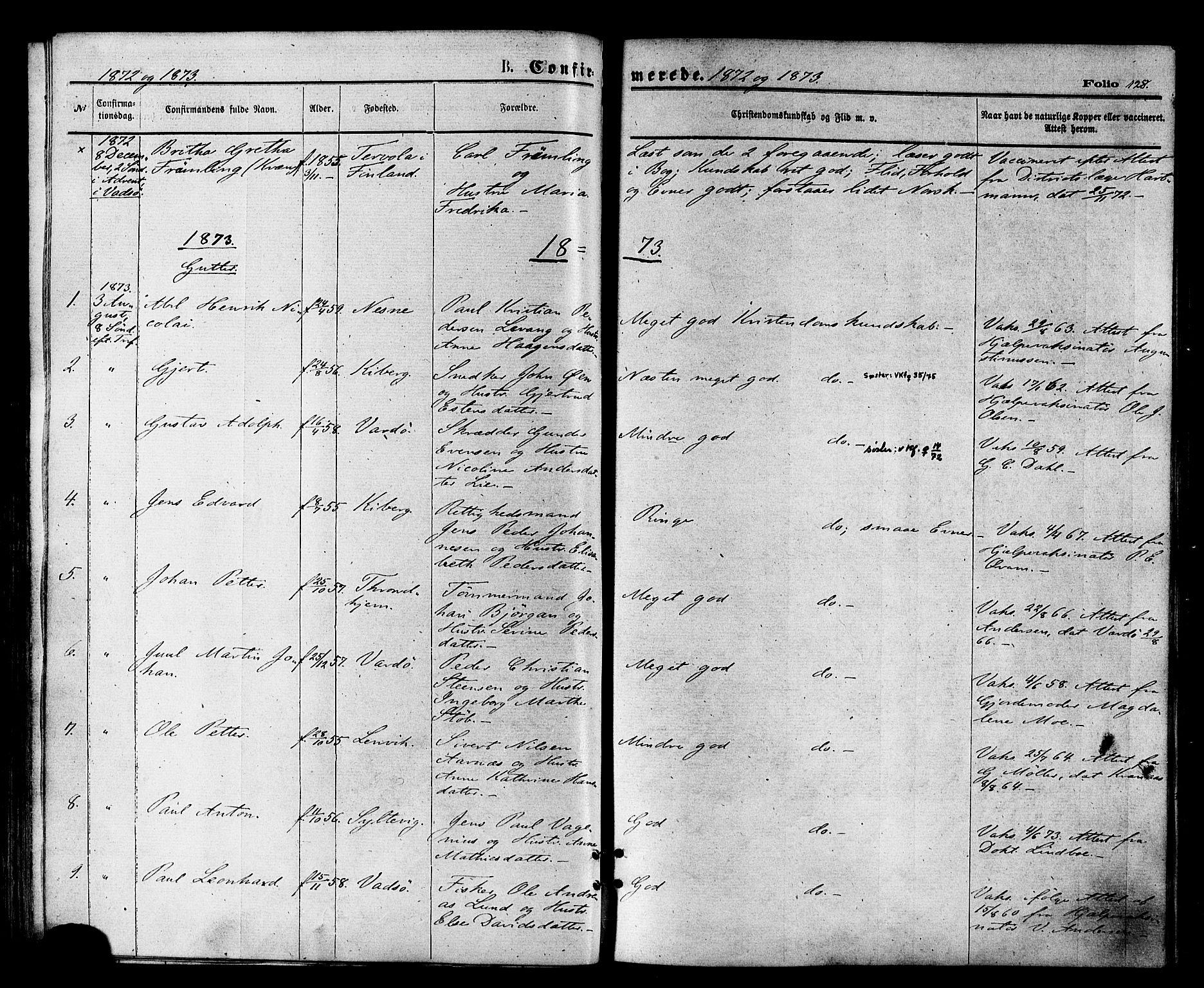 SATØ, Vardø sokneprestkontor, H/Ha/L0005kirke: Ministerialbok nr. 5, 1872-1878, s. 128
