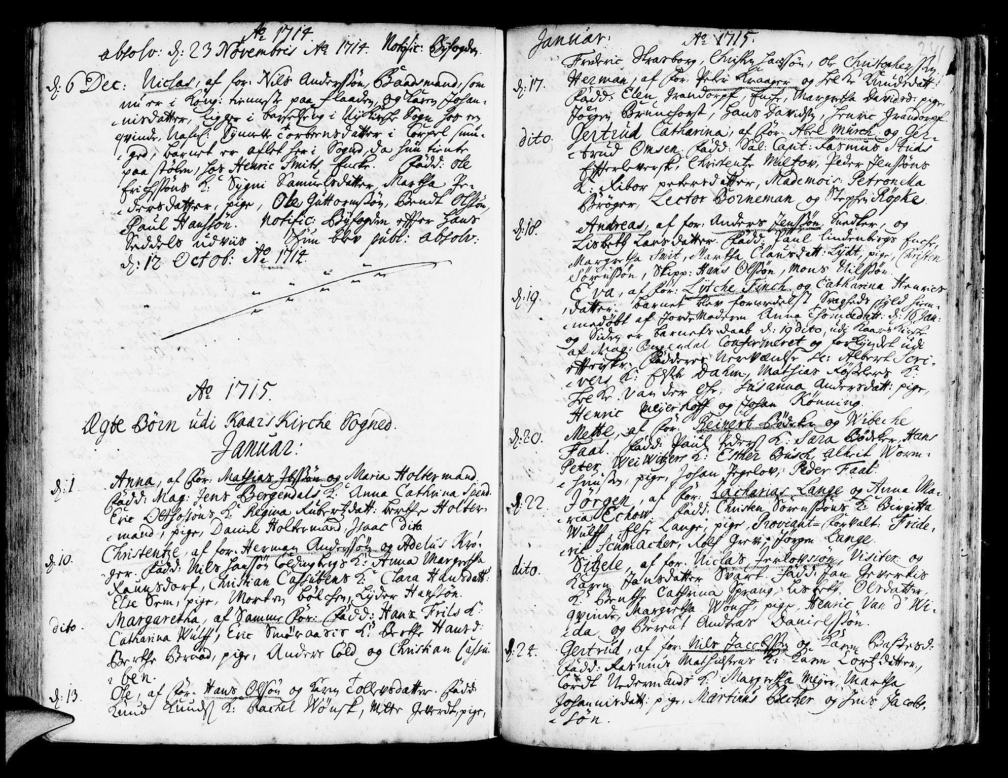 SAB, Korskirken Sokneprestembete, H/Haa/L0003: Ministerialbok nr. A 3, 1698-1719, s. 241