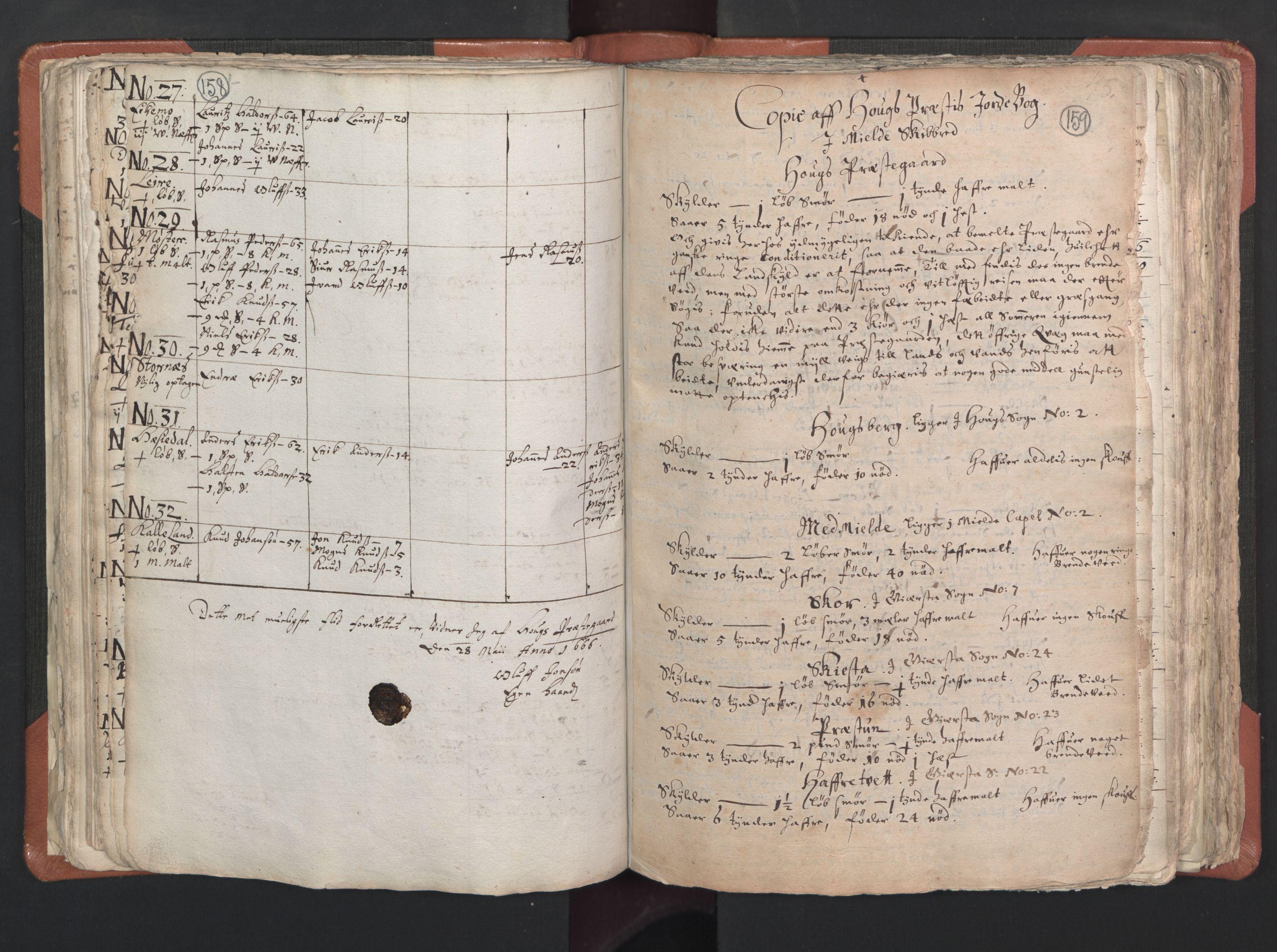 RA, Sogneprestenes manntall 1664-1666, nr. 22: Nordhordland prosti, 1664-1666, s. 158-159