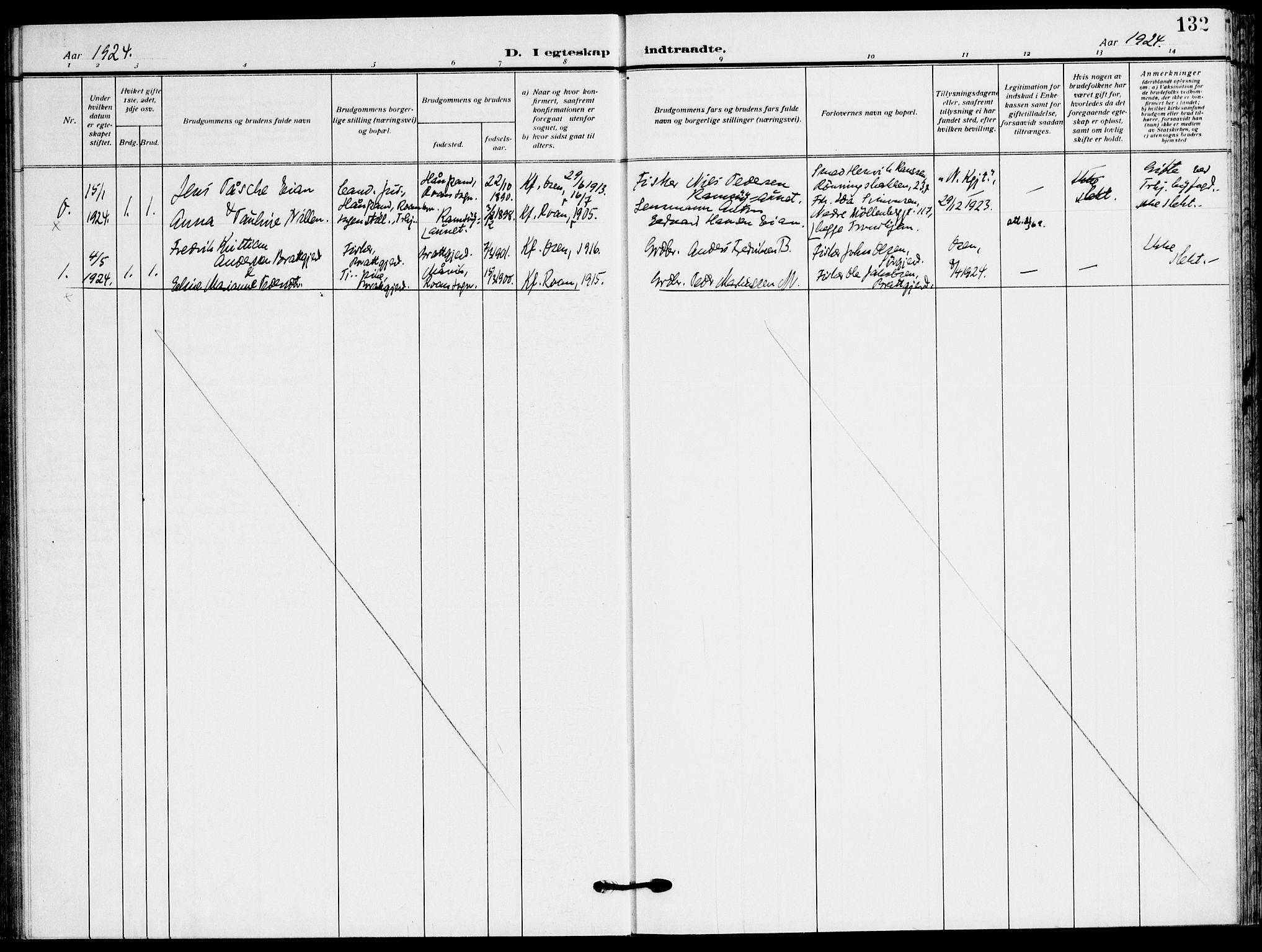 SAT, Ministerialprotokoller, klokkerbøker og fødselsregistre - Sør-Trøndelag, 658/L0724: Ministerialbok nr. 658A03, 1912-1924, s. 132
