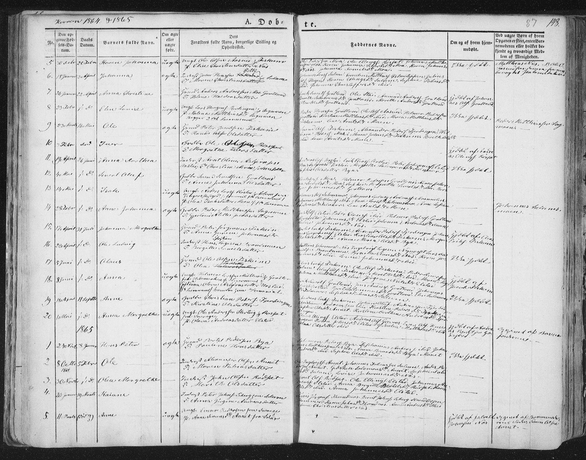 SAT, Ministerialprotokoller, klokkerbøker og fødselsregistre - Nord-Trøndelag, 758/L0513: Ministerialbok nr. 758A02 /3, 1839-1868, s. 87