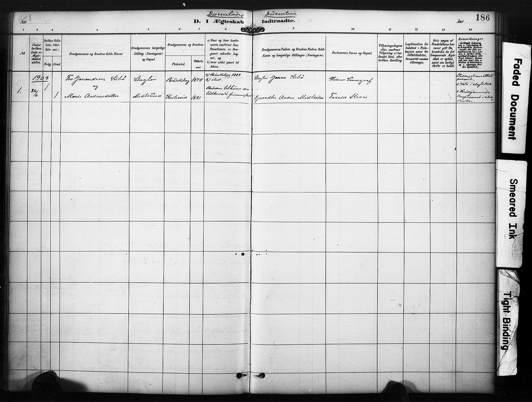 SAKO, Kviteseid kirkebøker, F/Fa/L0008: Ministerialbok nr. I 8, 1882-1903, s. 186