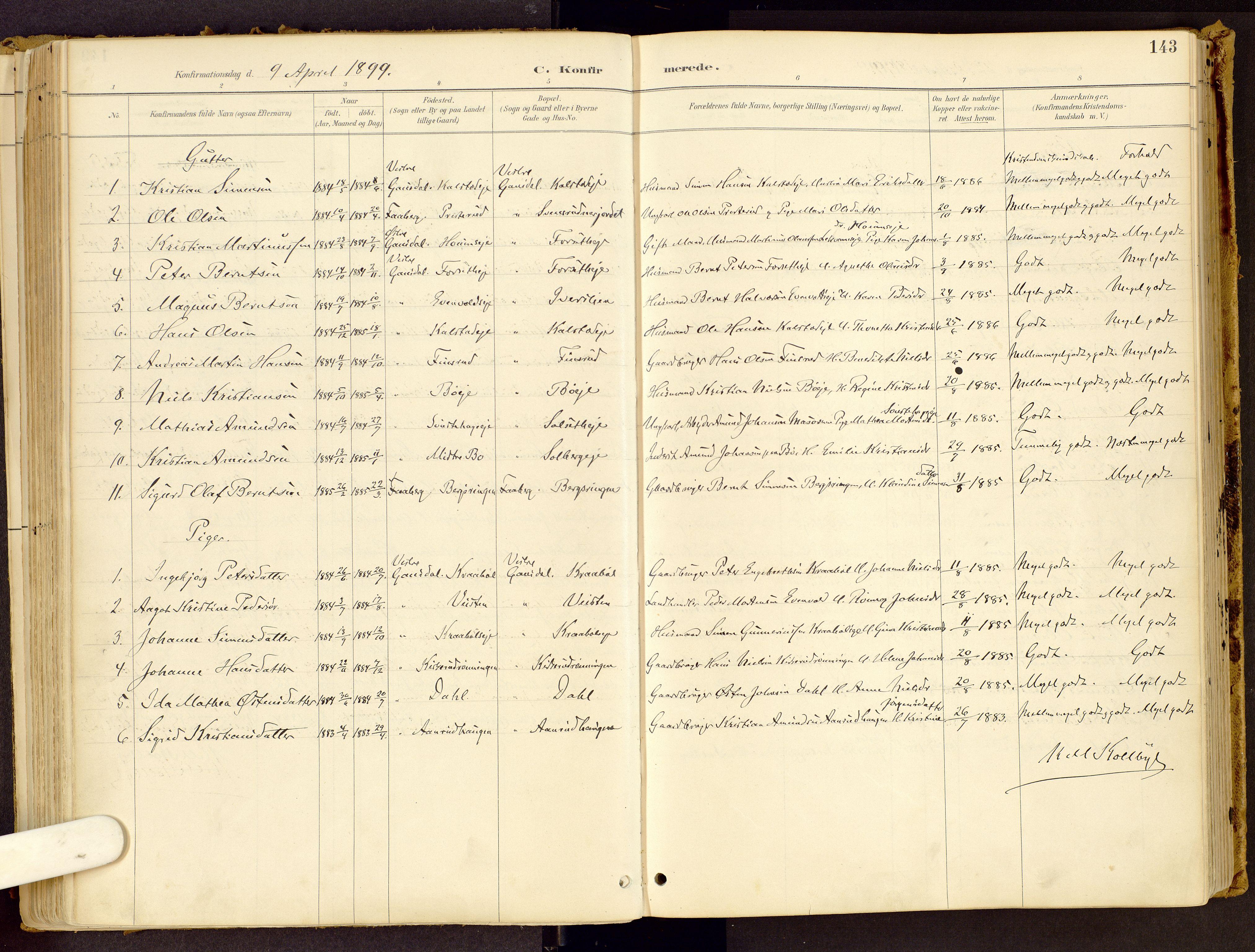 SAH, Vestre Gausdal prestekontor, Ministerialbok nr. 1, 1887-1914, s. 143
