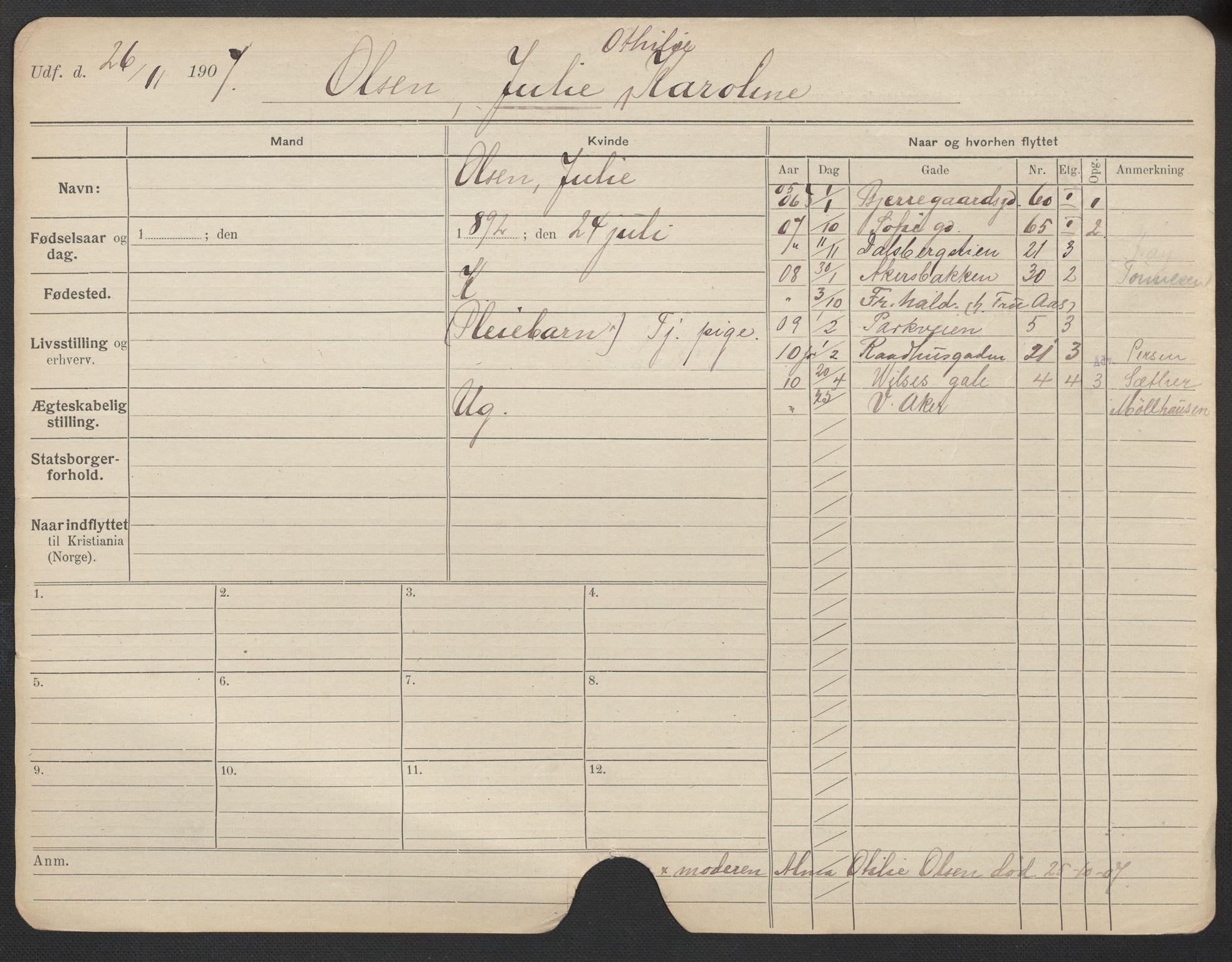 SAO, Oslo folkeregister, Registerkort, F/Fa/Fac/L0021: Kvinner, 1906-1914, s. 1226a
