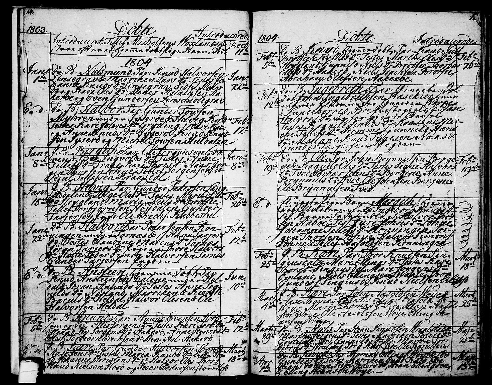 SAKO, Drangedal kirkebøker, F/Fa/L0004: Ministerialbok nr. 4, 1802-1814, s. 14-15