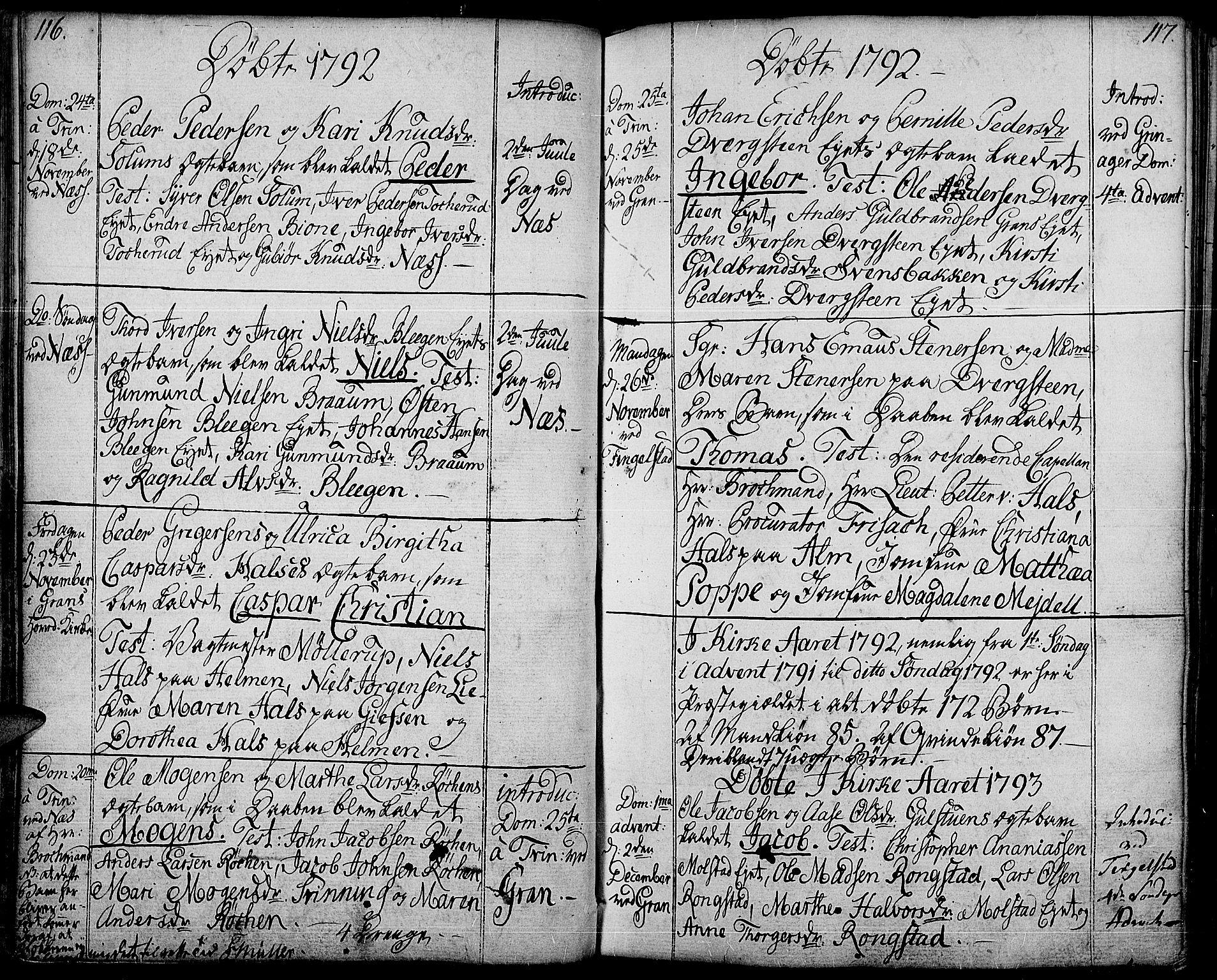 SAH, Gran prestekontor, Ministerialbok nr. 6, 1787-1824, s. 116-117
