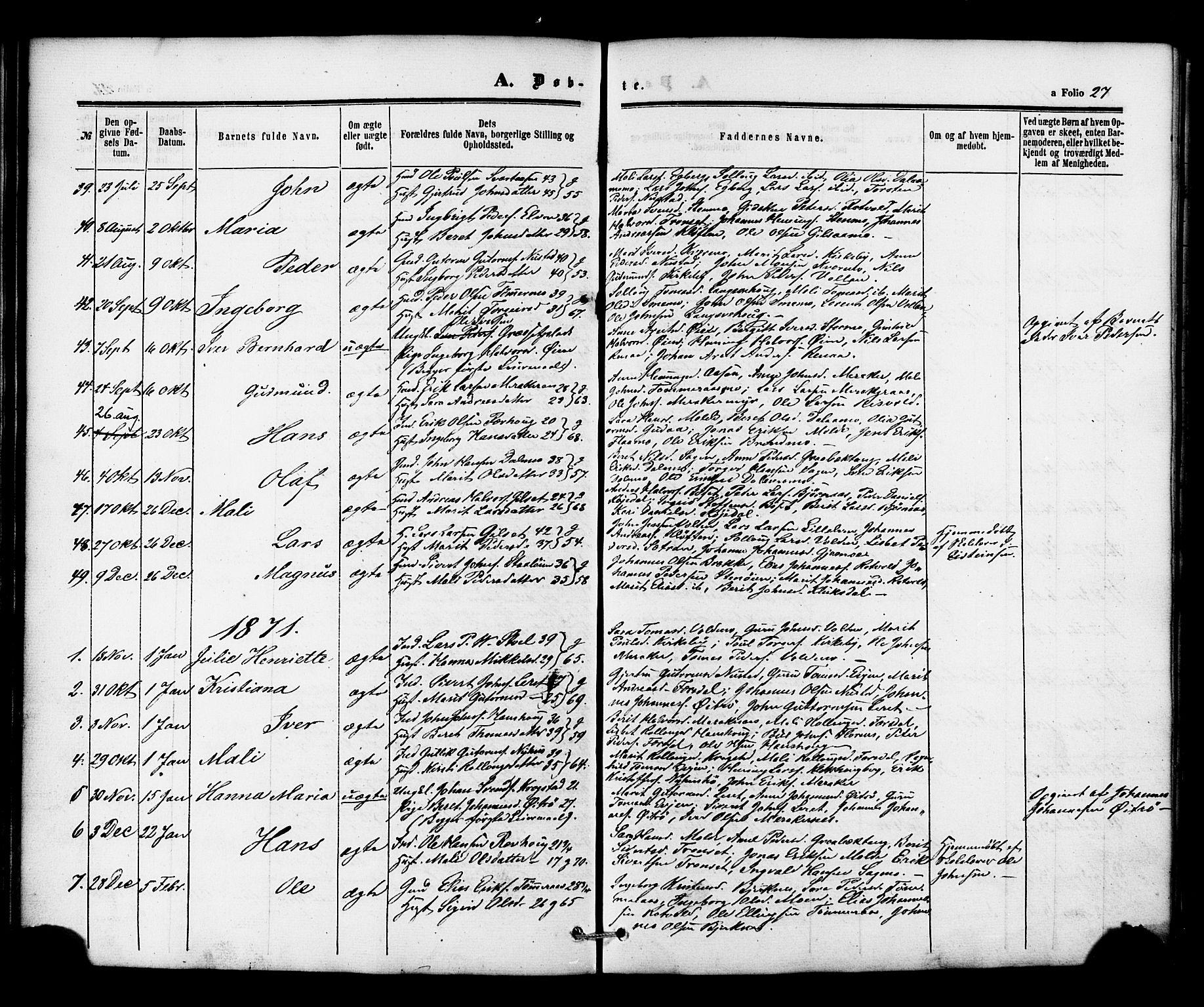 SAT, Ministerialprotokoller, klokkerbøker og fødselsregistre - Nord-Trøndelag, 706/L0041: Ministerialbok nr. 706A02, 1862-1877, s. 27