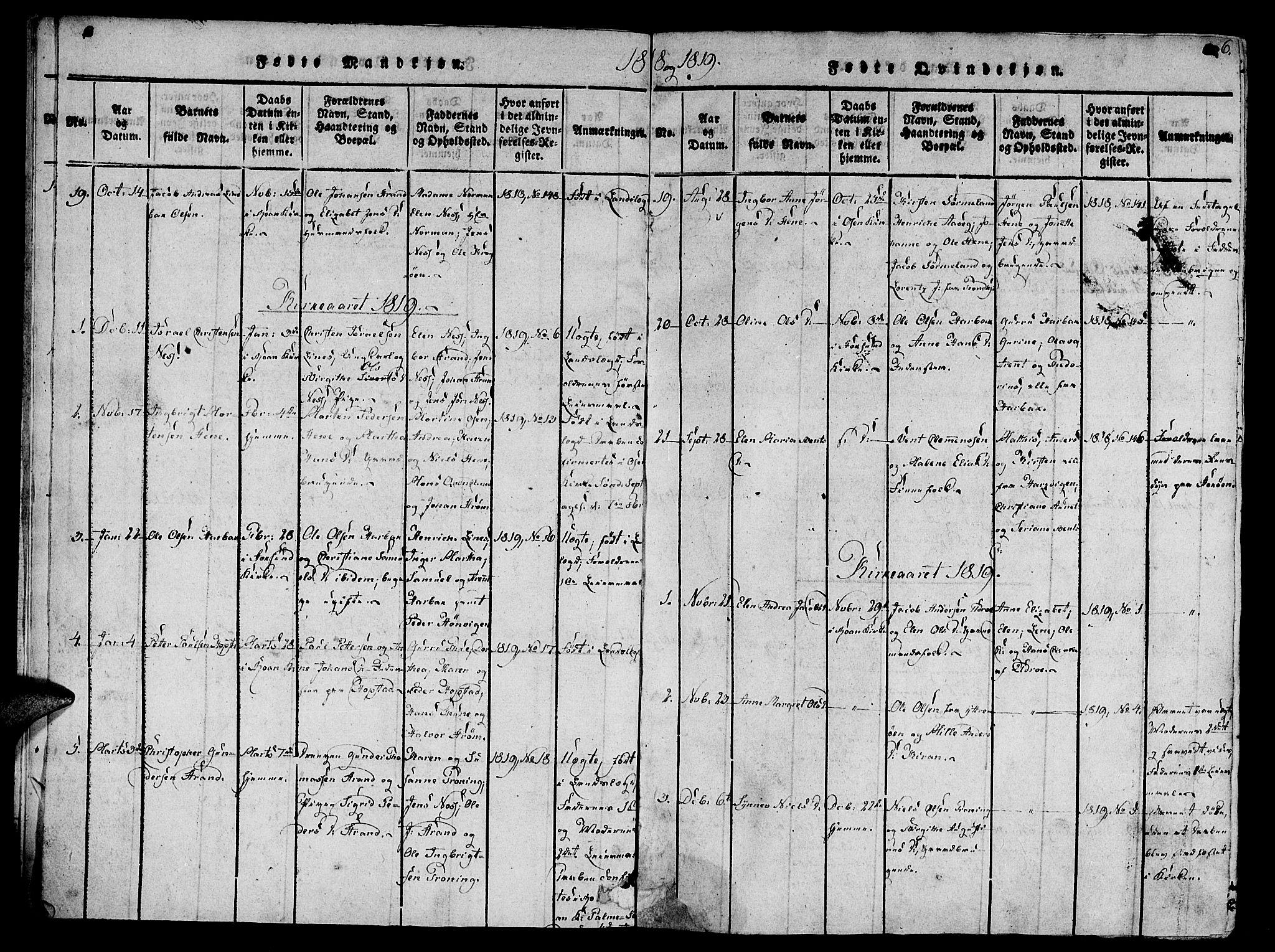 SAT, Ministerialprotokoller, klokkerbøker og fødselsregistre - Sør-Trøndelag, 657/L0702: Ministerialbok nr. 657A03, 1818-1831, s. 6