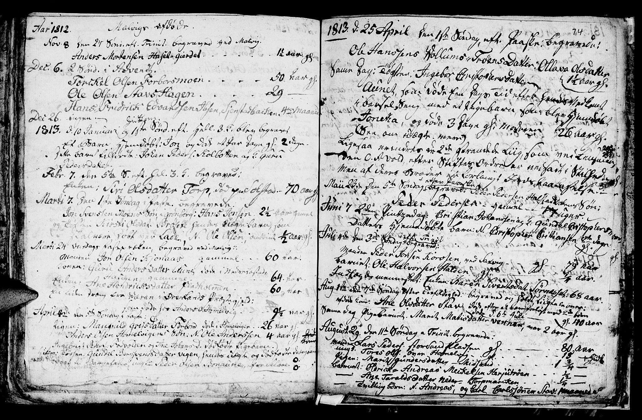 SAT, Ministerialprotokoller, klokkerbøker og fødselsregistre - Sør-Trøndelag, 616/L0419: Klokkerbok nr. 616C02, 1797-1816, s. 74