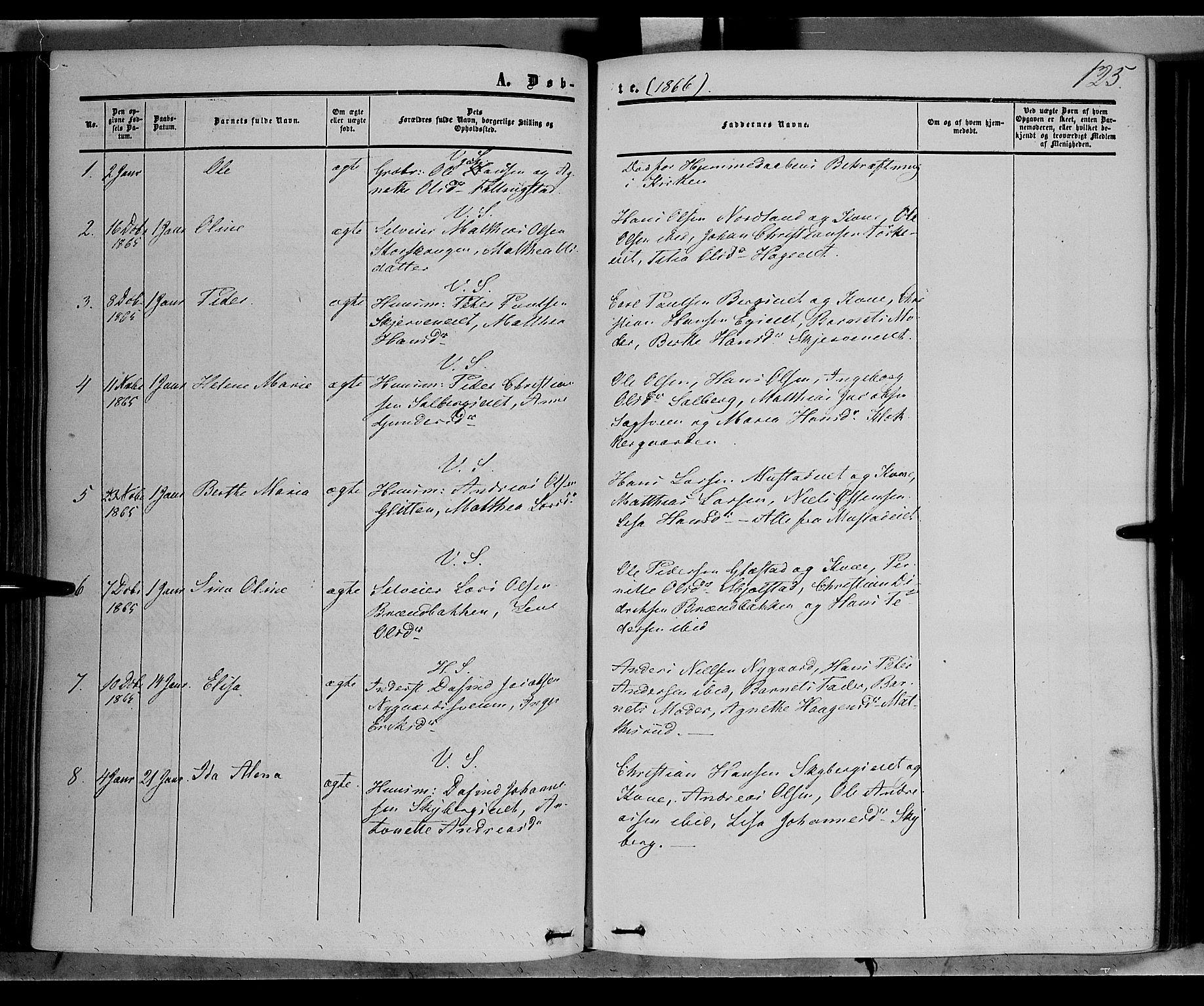 SAH, Vardal prestekontor, H/Ha/Haa/L0006: Ministerialbok nr. 6, 1854-1866, s. 125