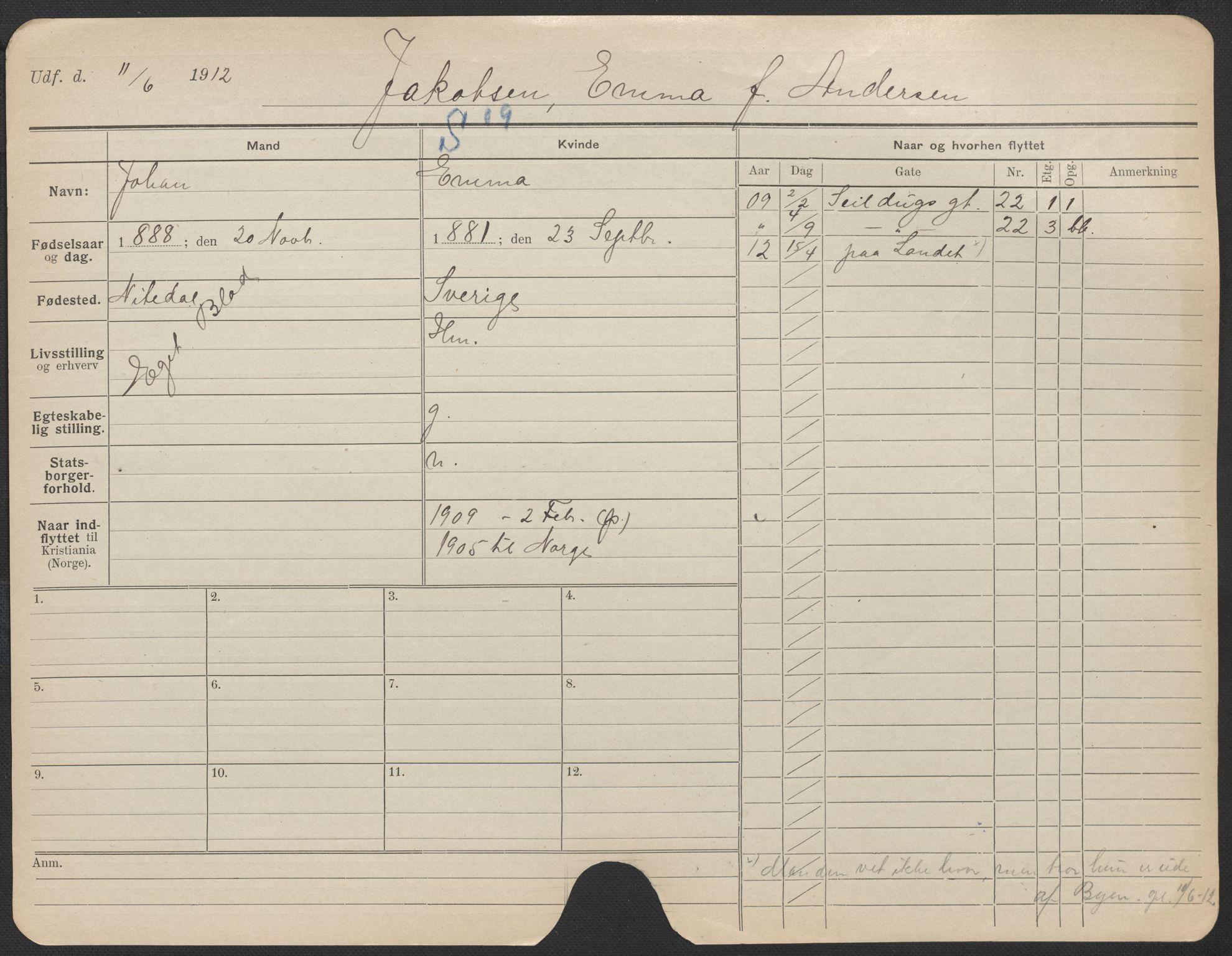 SAO, Oslo folkeregister, Registerkort, F/Fa/Fac/L0017: Kvinner, 1906-1914, s. 176a