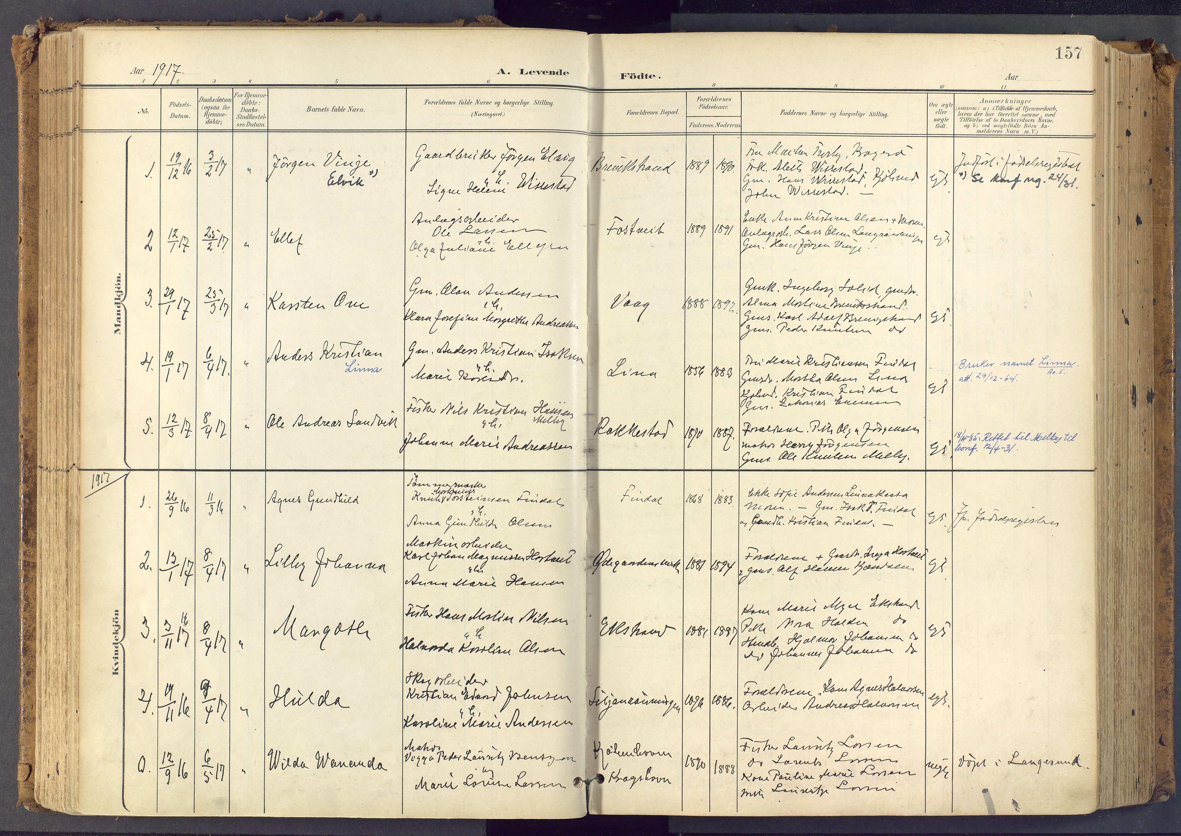 SAKO, Bamble kirkebøker, F/Fa/L0009: Ministerialbok nr. I 9, 1901-1917, s. 157