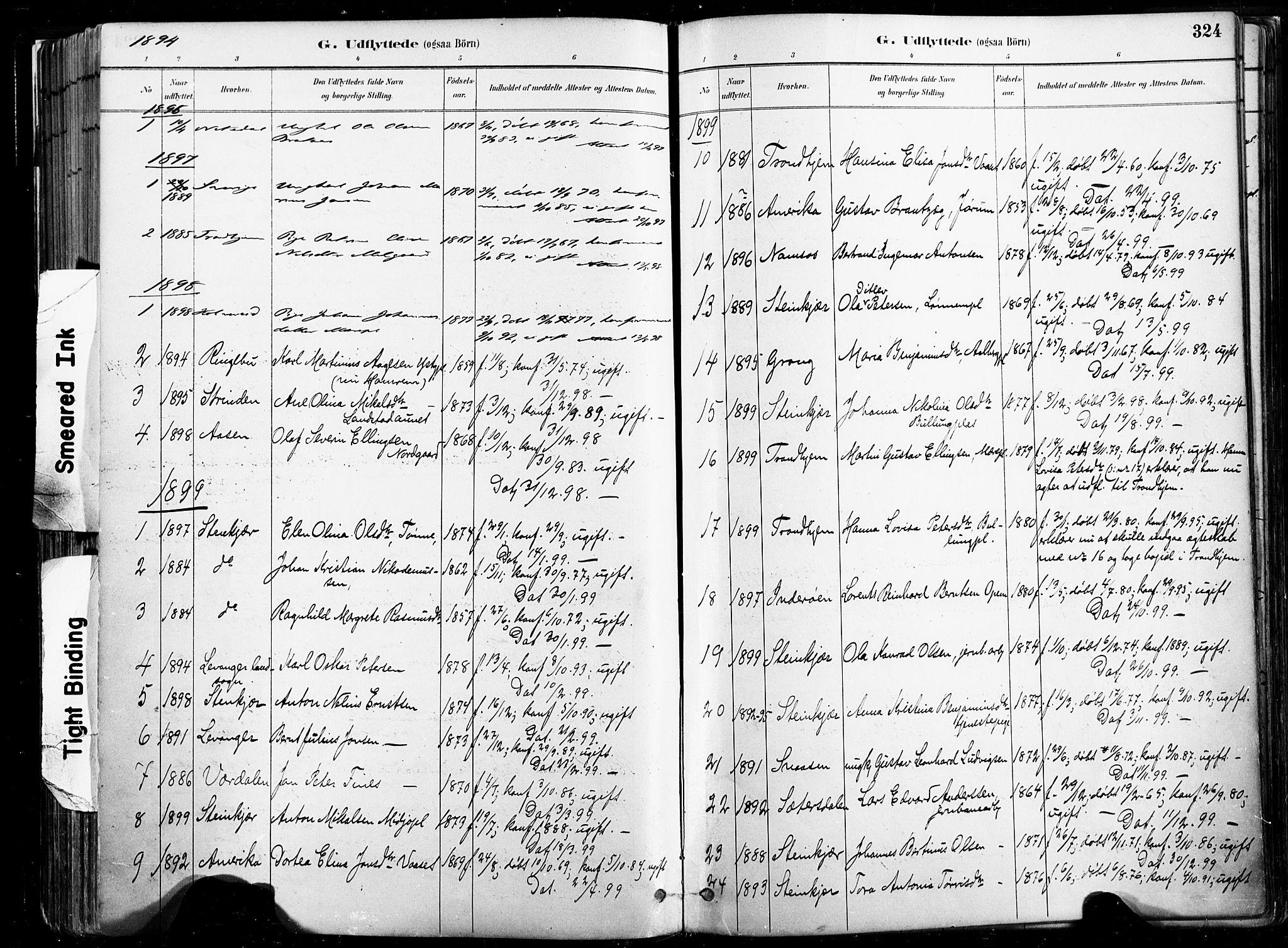 SAT, Ministerialprotokoller, klokkerbøker og fødselsregistre - Nord-Trøndelag, 735/L0351: Ministerialbok nr. 735A10, 1884-1908, s. 324