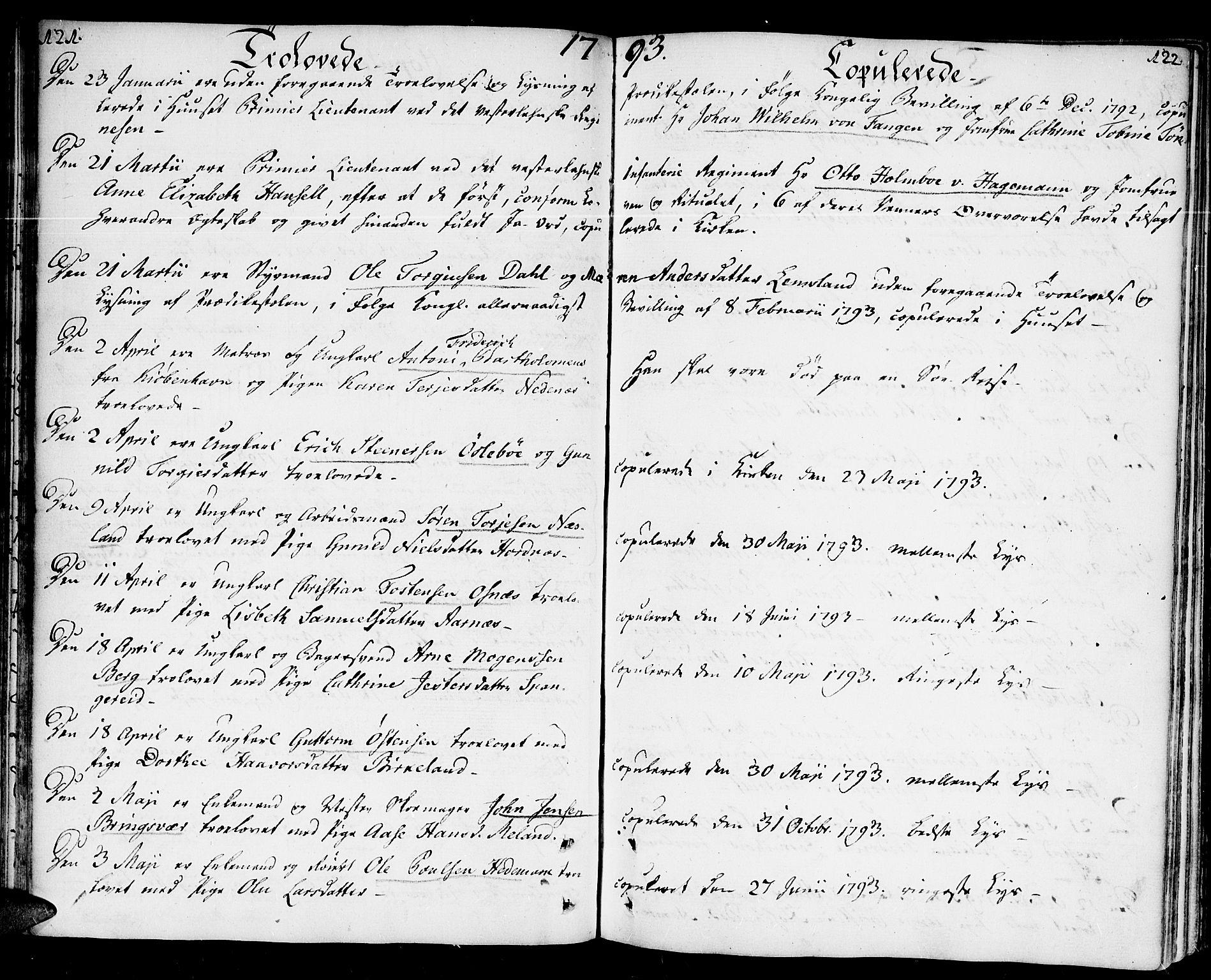 SAK, Kristiansand domprosti, F/Fa/L0005: Ministerialbok nr. A 5, 1776-1818, s. 121-122