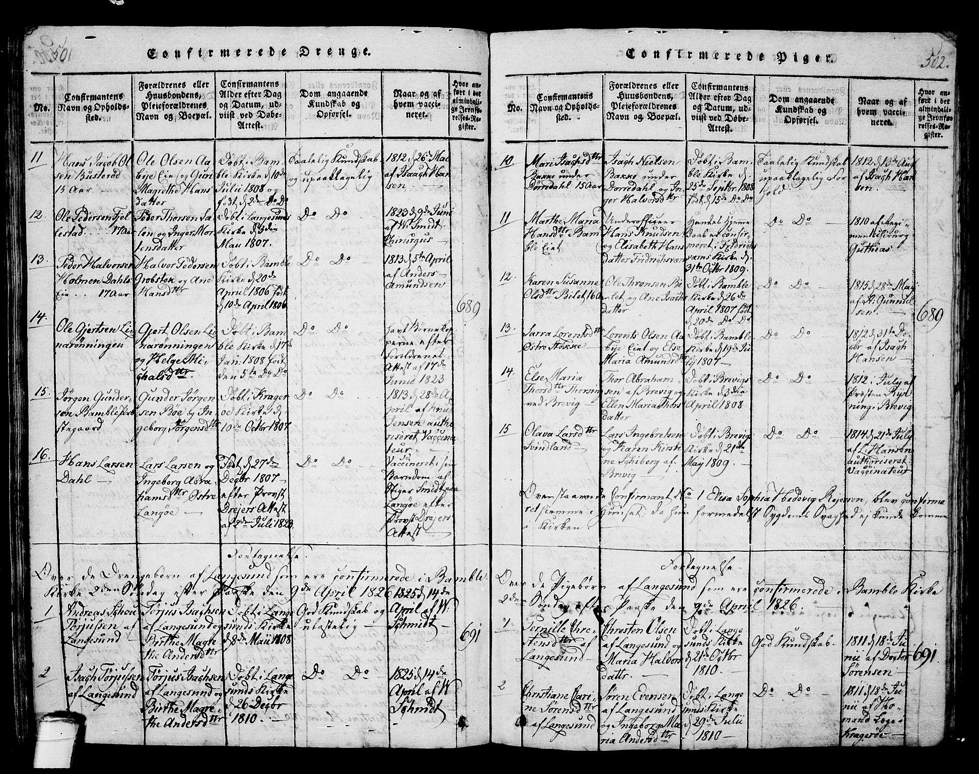 SAKO, Langesund kirkebøker, G/Ga/L0003: Klokkerbok nr. 3, 1815-1858, s. 501-502