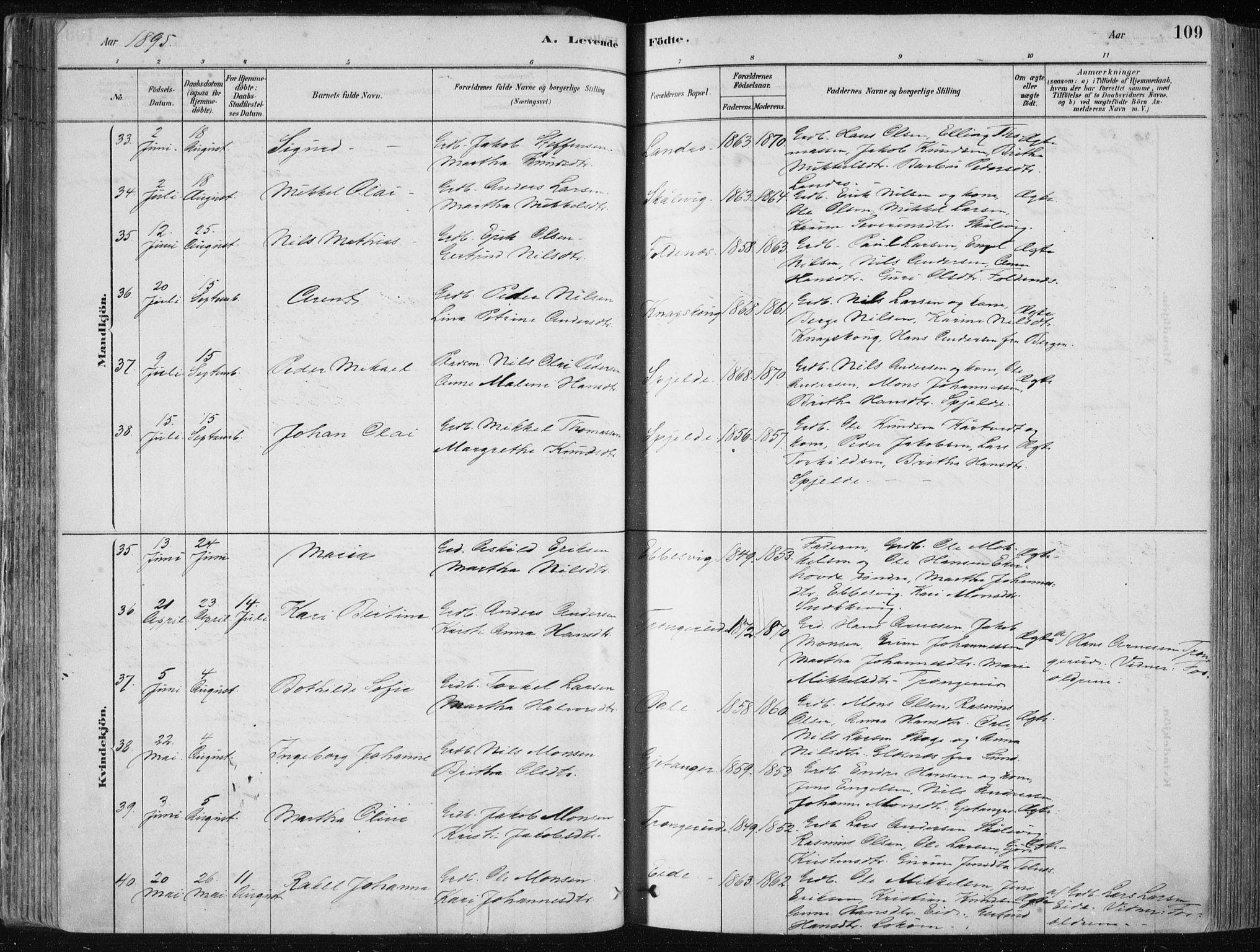 SAB, Fjell Sokneprestembete, H/Haa: Ministerialbok nr. A  8, 1878-1898, s. 109