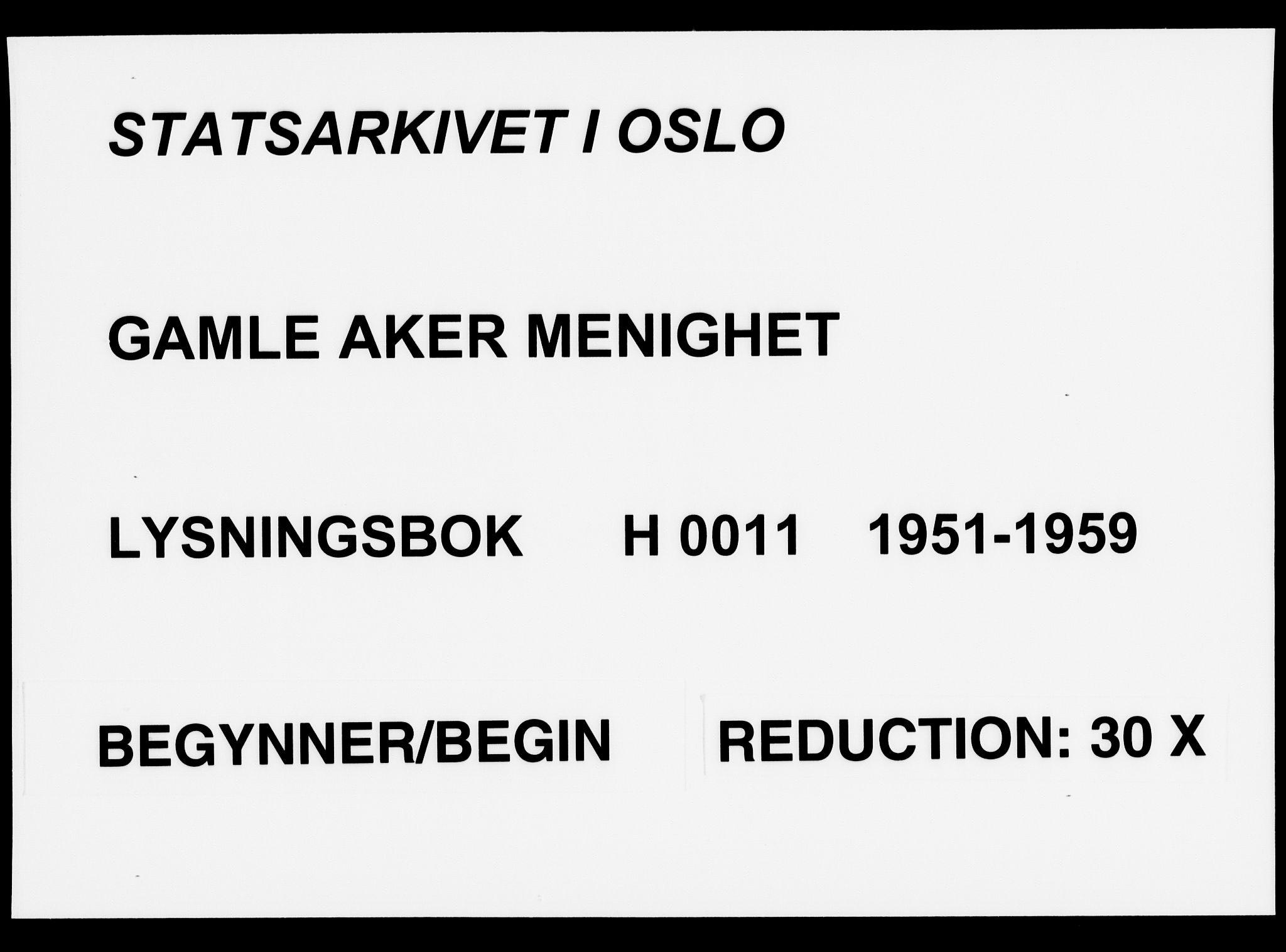 SAO, Gamle Aker prestekontor Kirkebøker, H/L0011: Lysningsprotokoll nr. 11, 1951-1959