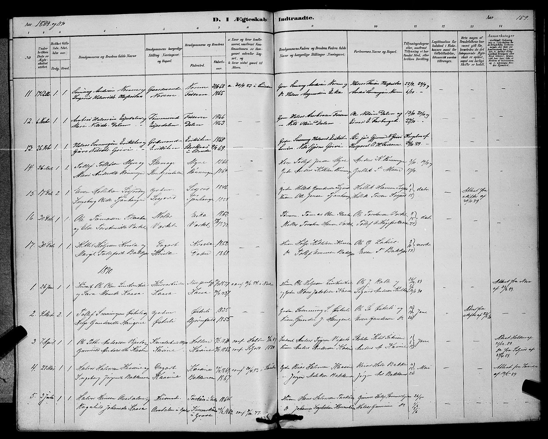 SAKO, Bø kirkebøker, G/Ga/L0005: Klokkerbok nr. 5, 1883-1897, s. 159