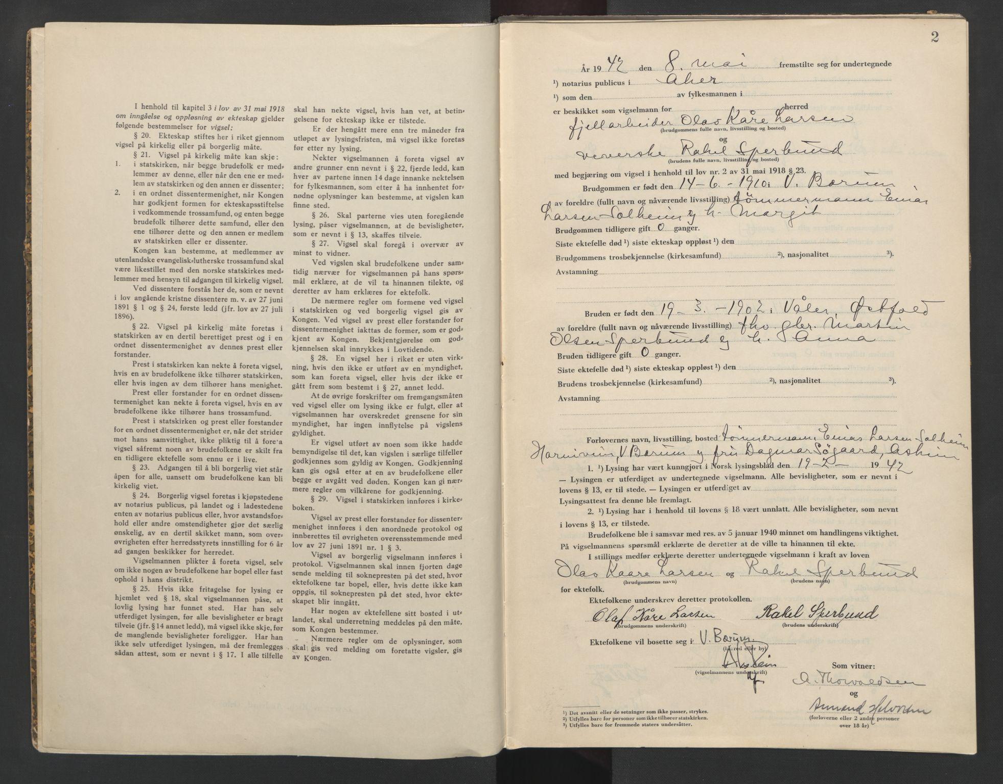 SAO, Aker sorenskriveri, L/Lc/Lcb/L0015: Vigselprotokoll, 1942, s. 2