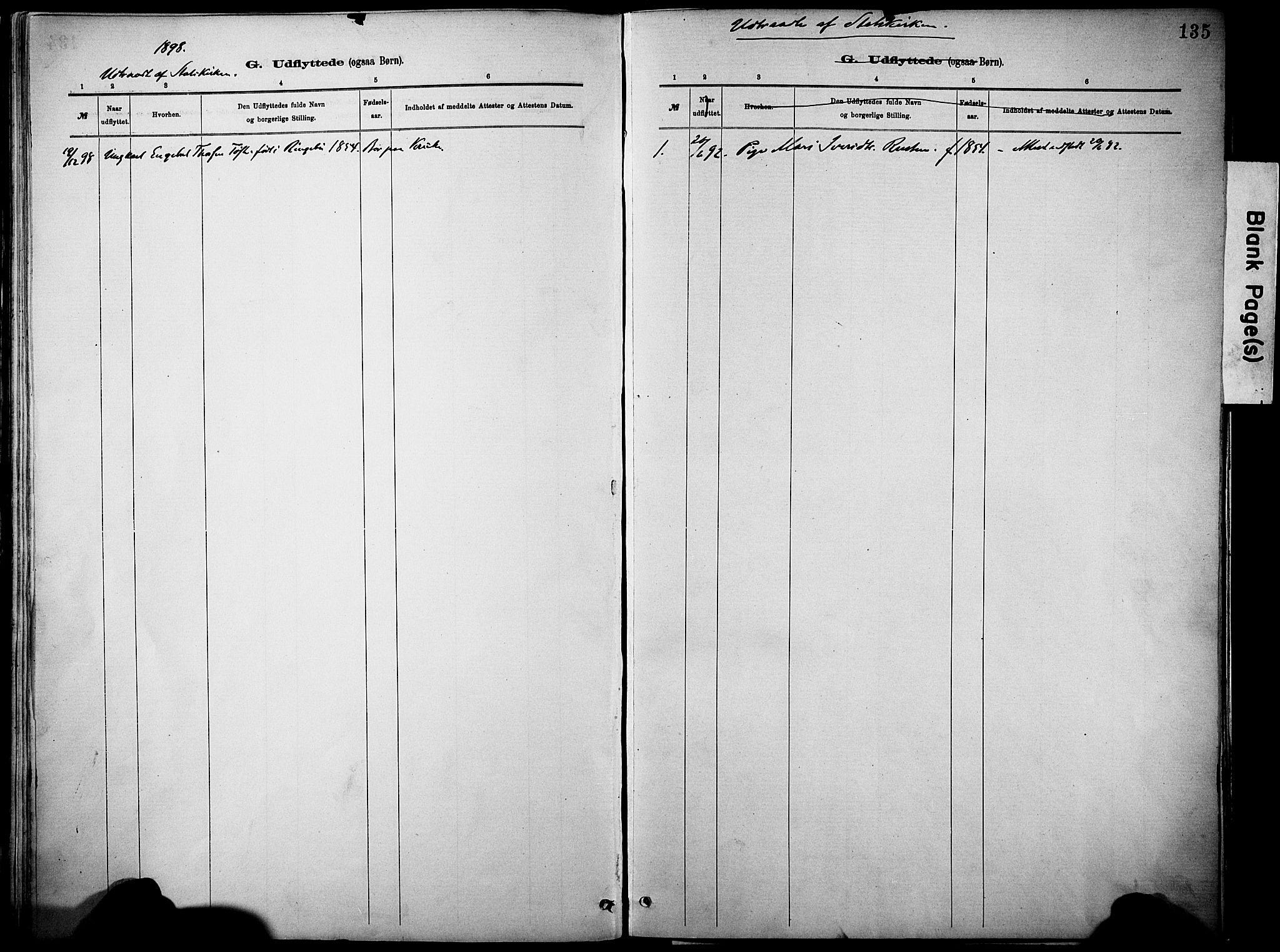 SAH, Vågå prestekontor, Ministerialbok nr. 10, 1887-1904, s. 135a