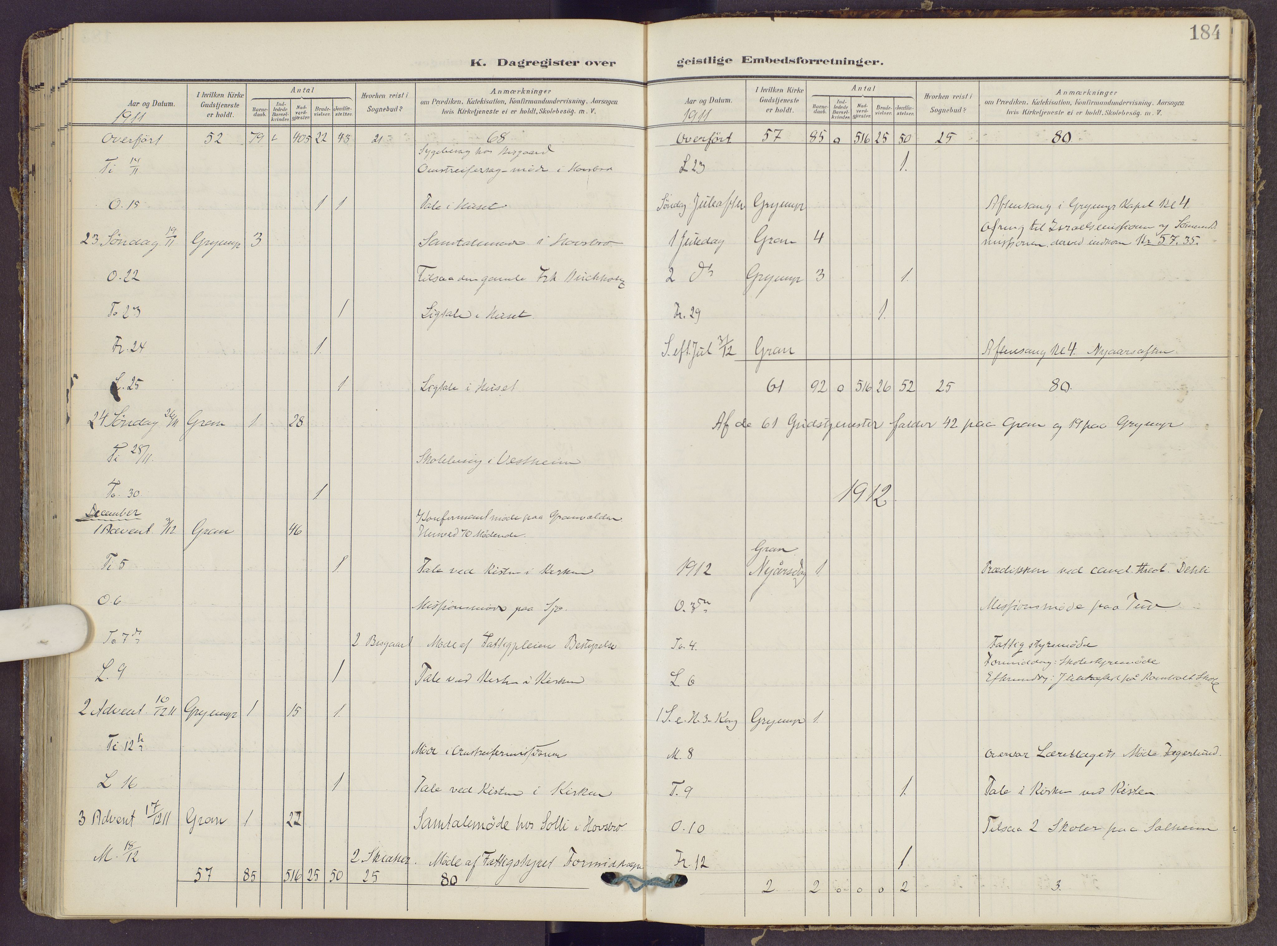 SAH, Gran prestekontor, Ministerialbok nr. 22, 1908-1918, s. 184