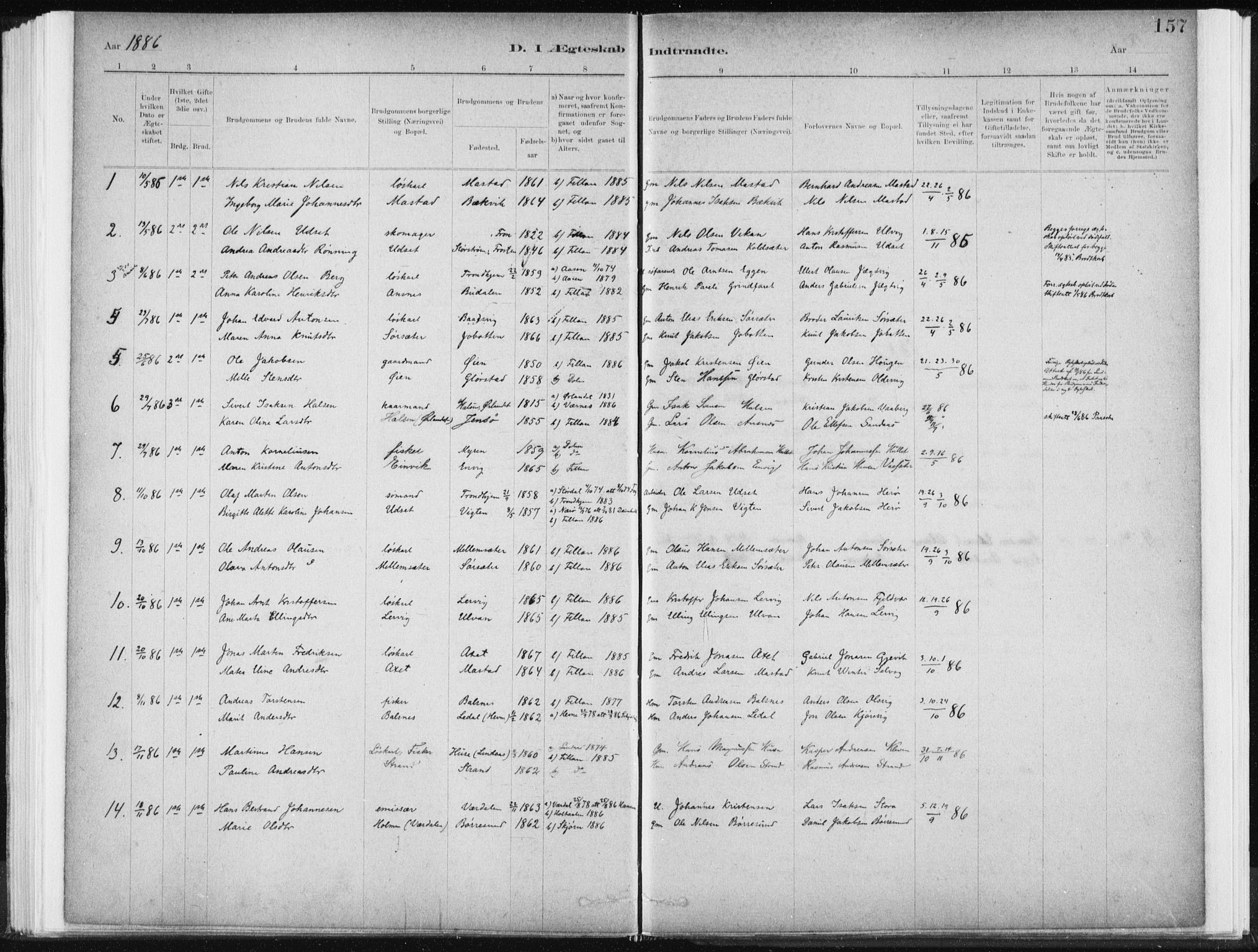 SAT, Ministerialprotokoller, klokkerbøker og fødselsregistre - Sør-Trøndelag, 637/L0558: Ministerialbok nr. 637A01, 1882-1899, s. 157