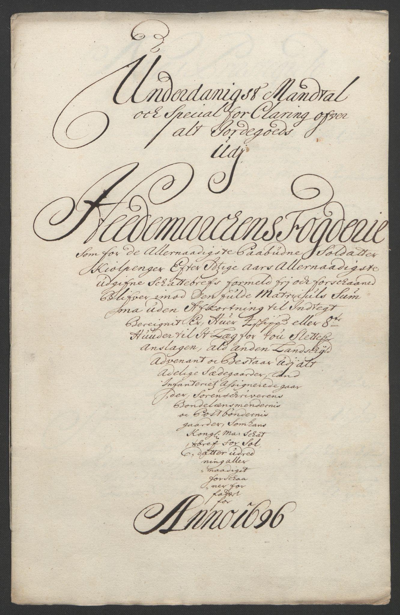 RA, Rentekammeret inntil 1814, Reviderte regnskaper, Fogderegnskap, R16/L1036: Fogderegnskap Hedmark, 1695-1696, s. 422