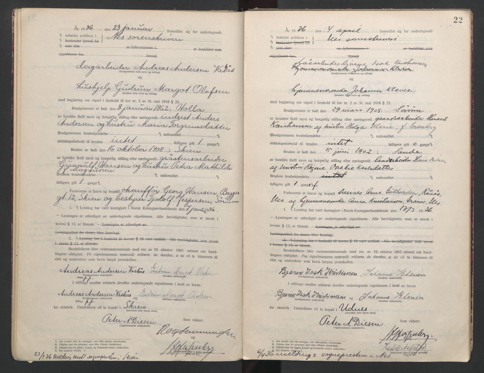 SAO, Nes tingrett, L/Lc/Lca/L0001: Vigselbok, 1920-1943, s. 22