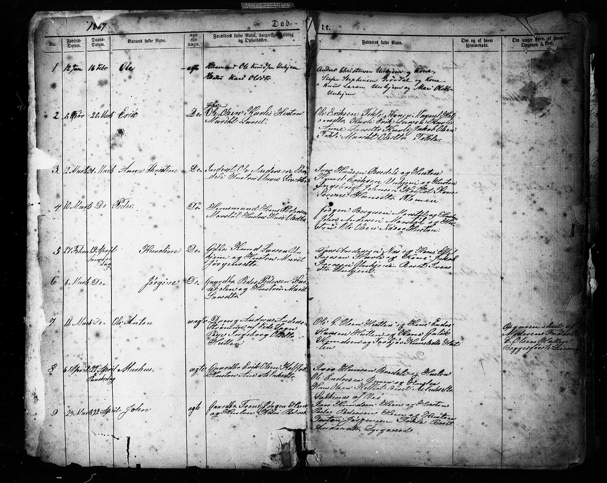 SAT, Ministerialprotokoller, klokkerbøker og fødselsregistre - Møre og Romsdal, 545/L0588: Klokkerbok nr. 545C02, 1867-1902, s. 1