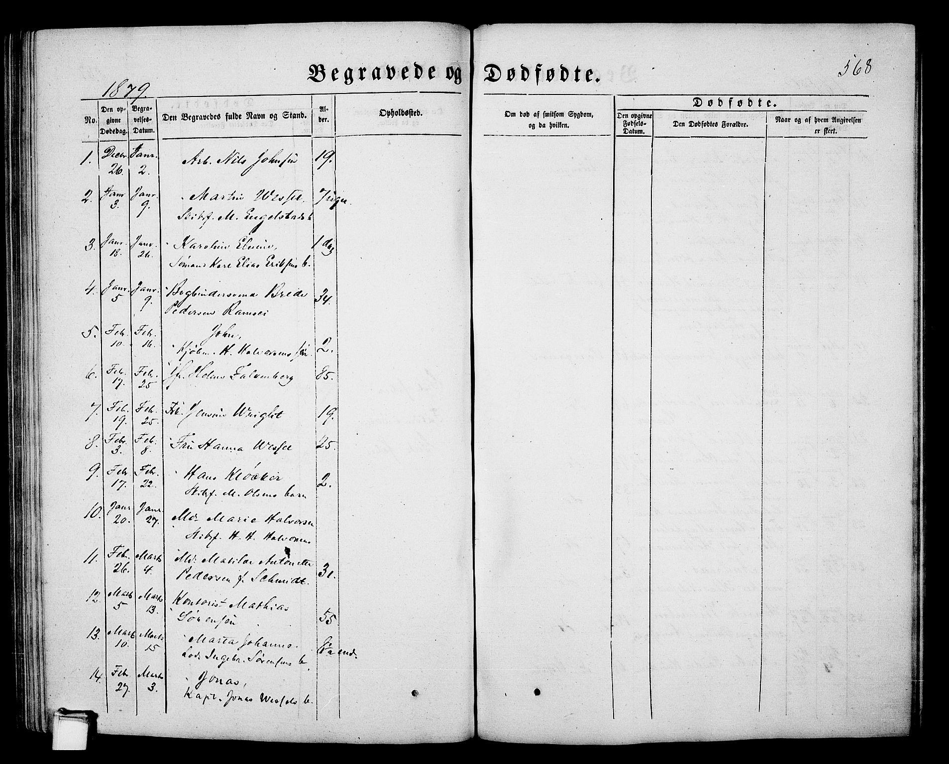 SAKO, Porsgrunn kirkebøker , G/Gb/L0004: Klokkerbok nr. II 4, 1853-1882, s. 568