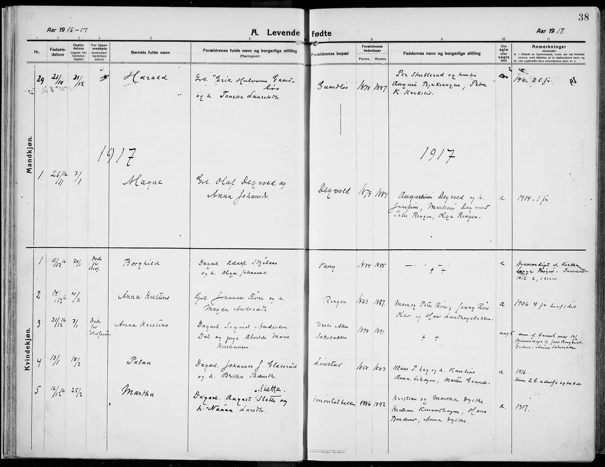 SAH, Kolbu prestekontor, Ministerialbok nr. 2, 1912-1926, s. 38