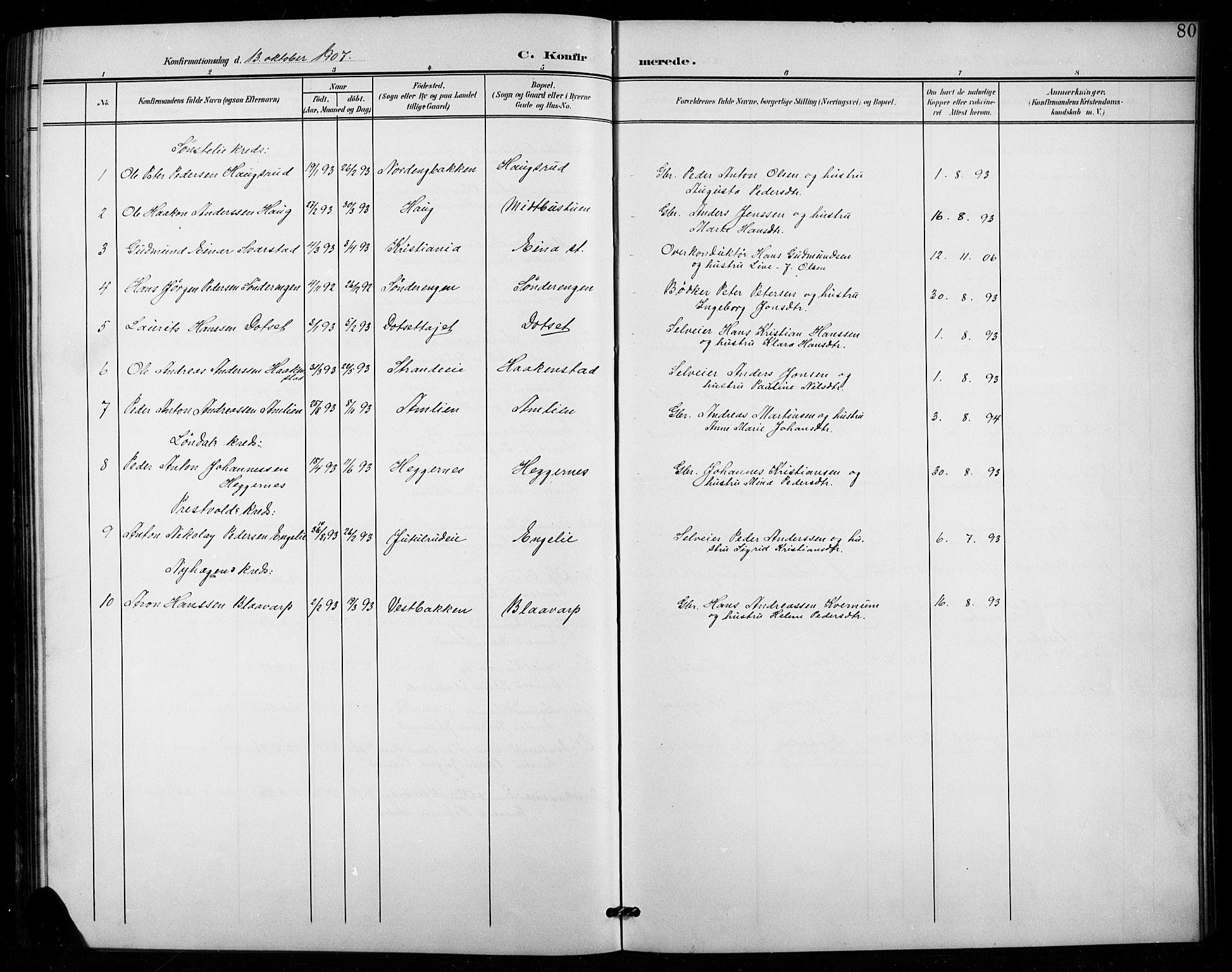 SAH, Vestre Toten prestekontor, H/Ha/Hab/L0016: Klokkerbok nr. 16, 1901-1915, s. 80
