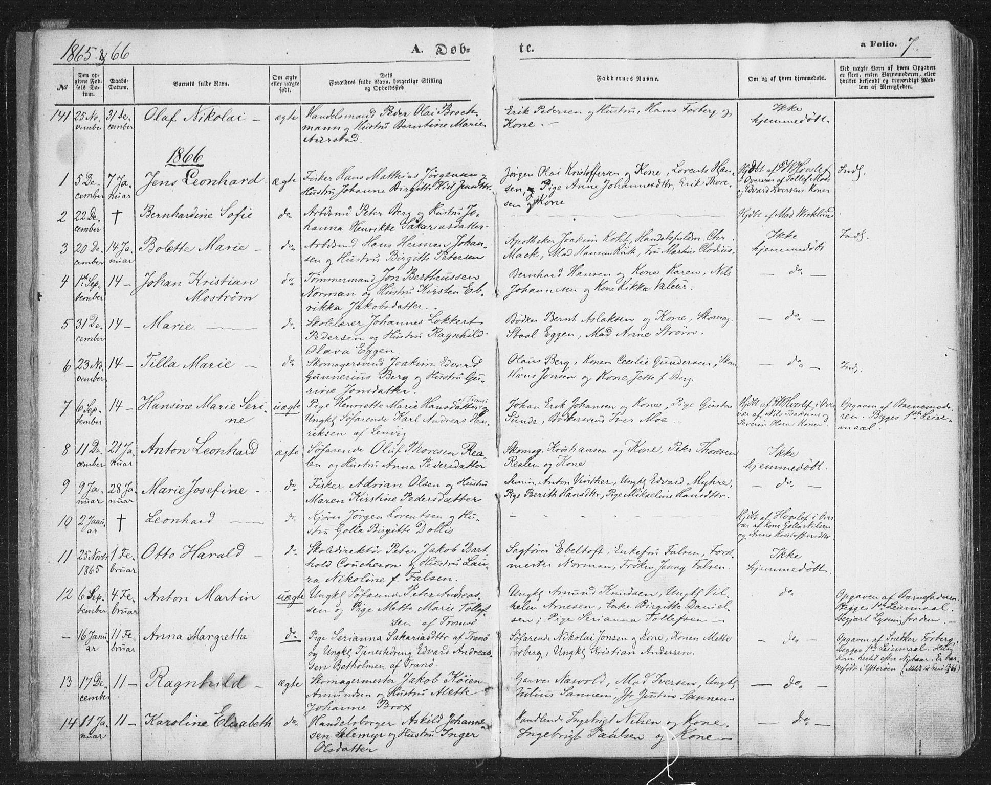 SATØ, Tromsø sokneprestkontor/stiftsprosti/domprosti, G/Ga/L0012kirke: Ministerialbok nr. 12, 1865-1871, s. 7