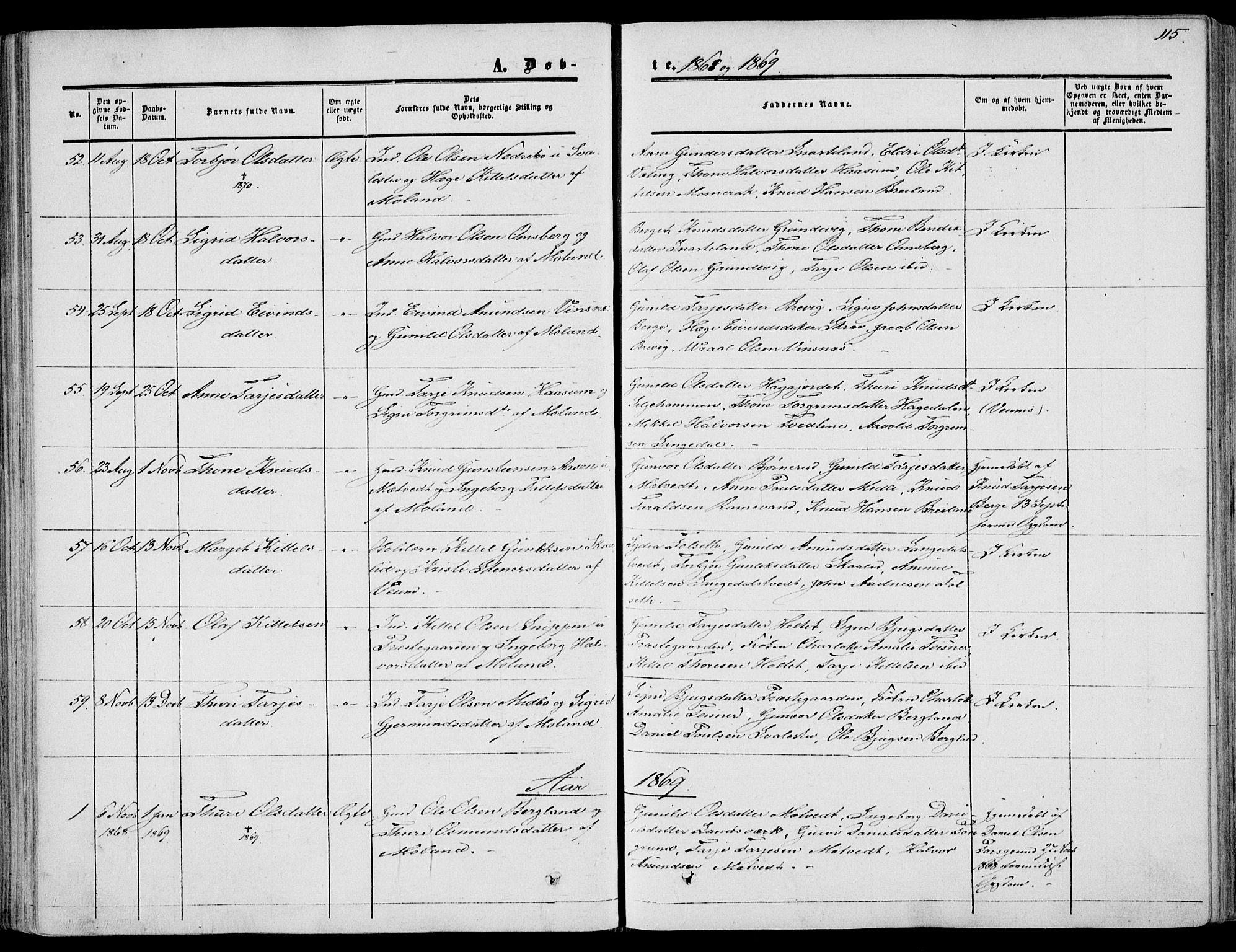 SAKO, Fyresdal kirkebøker, F/Fa/L0005: Ministerialbok nr. I 5, 1855-1871, s. 115