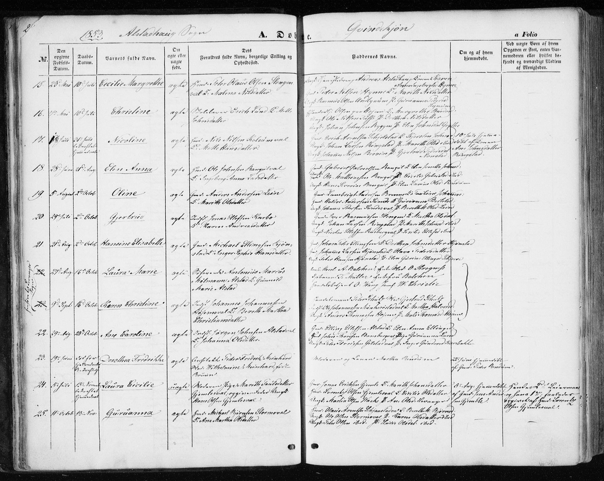 SAT, Ministerialprotokoller, klokkerbøker og fødselsregistre - Nord-Trøndelag, 717/L0154: Ministerialbok nr. 717A07 /1, 1850-1862, s. 23