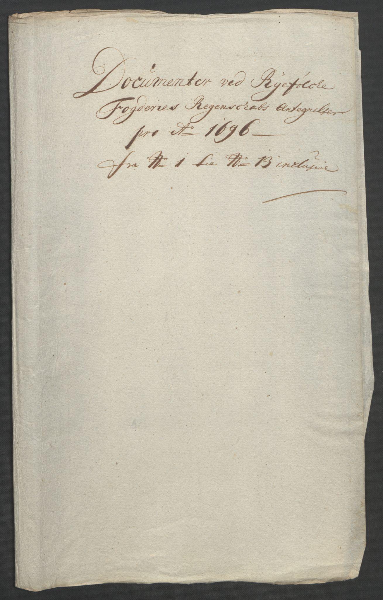 RA, Rentekammeret inntil 1814, Reviderte regnskaper, Fogderegnskap, R47/L2857: Fogderegnskap Ryfylke, 1694-1696, s. 312