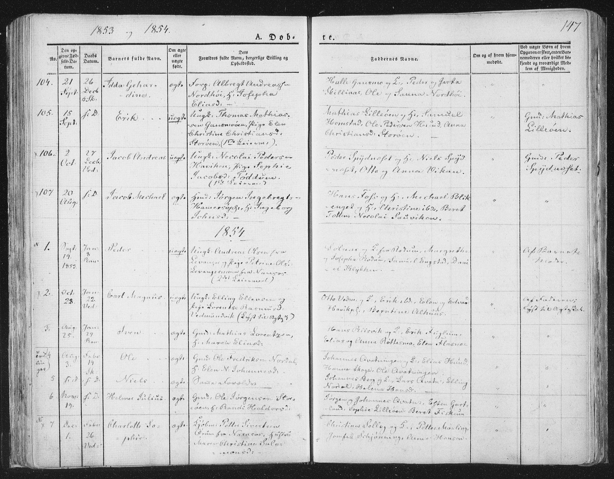 SAT, Ministerialprotokoller, klokkerbøker og fødselsregistre - Nord-Trøndelag, 764/L0551: Ministerialbok nr. 764A07a, 1824-1864, s. 147