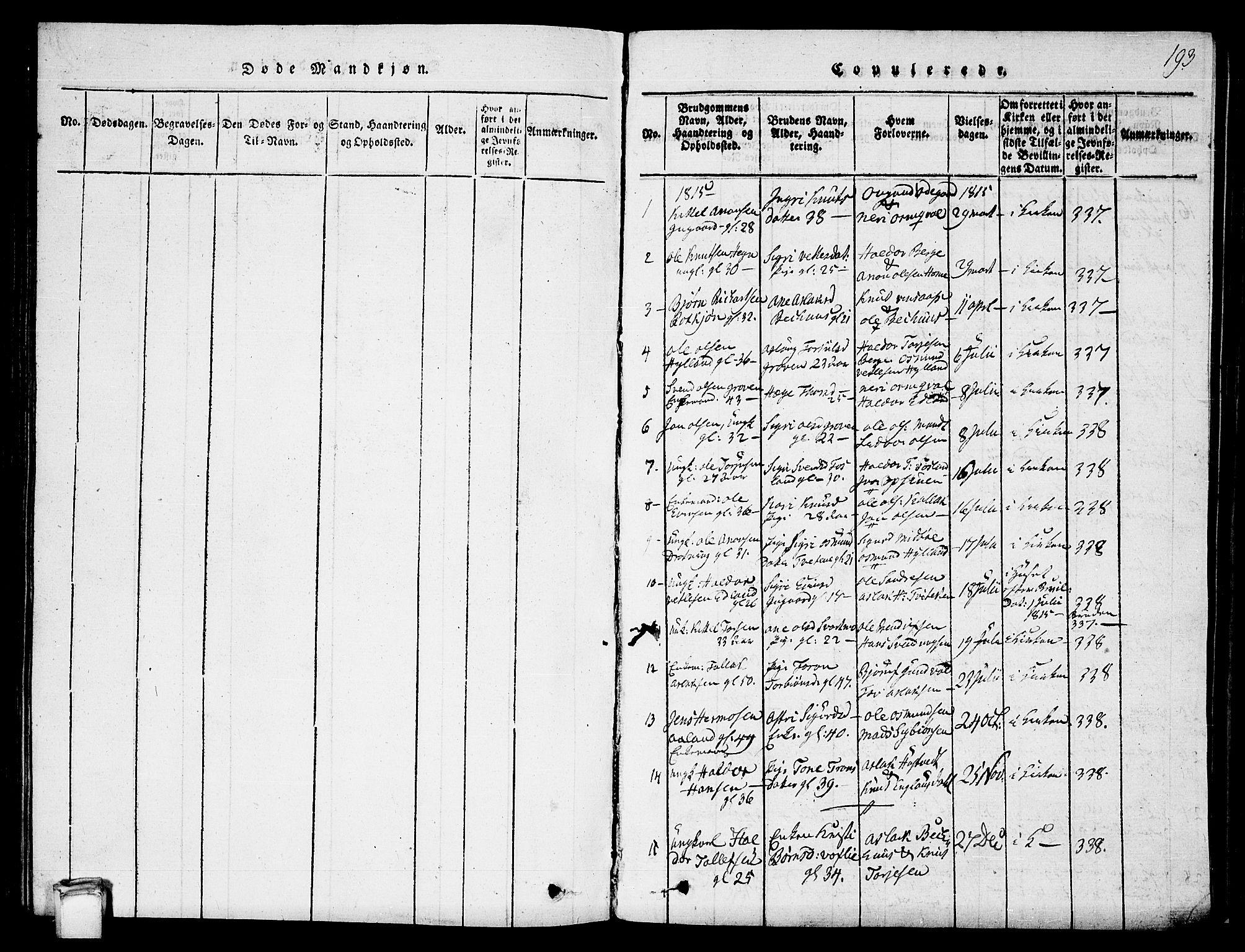 SAKO, Vinje kirkebøker, G/Ga/L0001: Klokkerbok nr. I 1, 1814-1843, s. 193