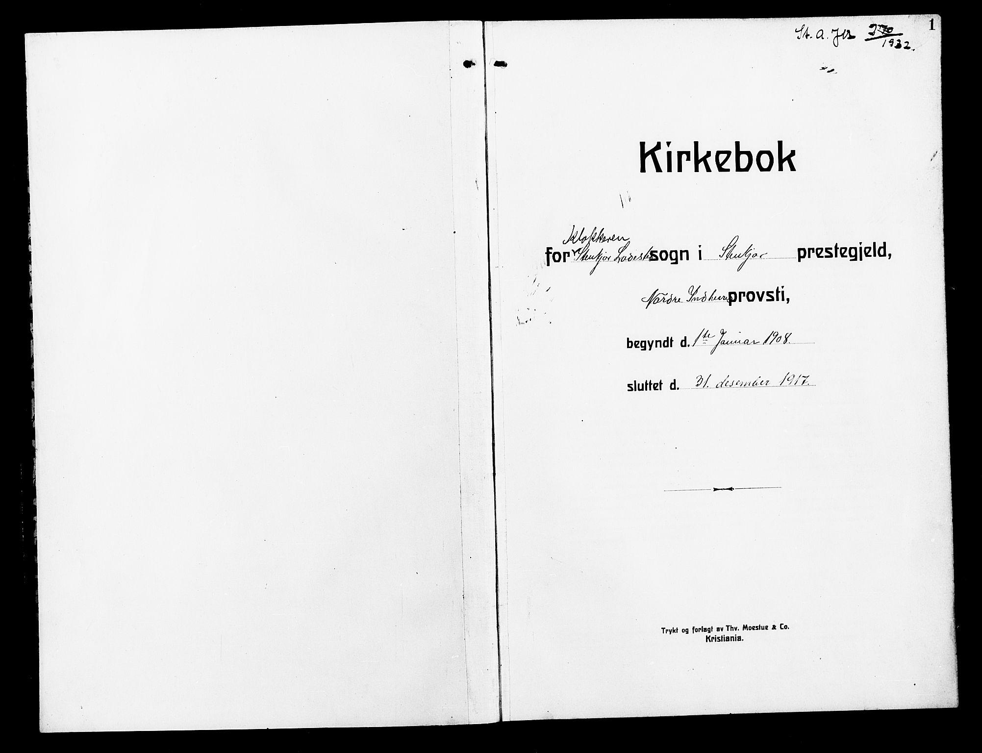 SAT, Ministerialprotokoller, klokkerbøker og fødselsregistre - Nord-Trøndelag, 739/L0376: Klokkerbok nr. 739C04, 1908-1917, s. 1