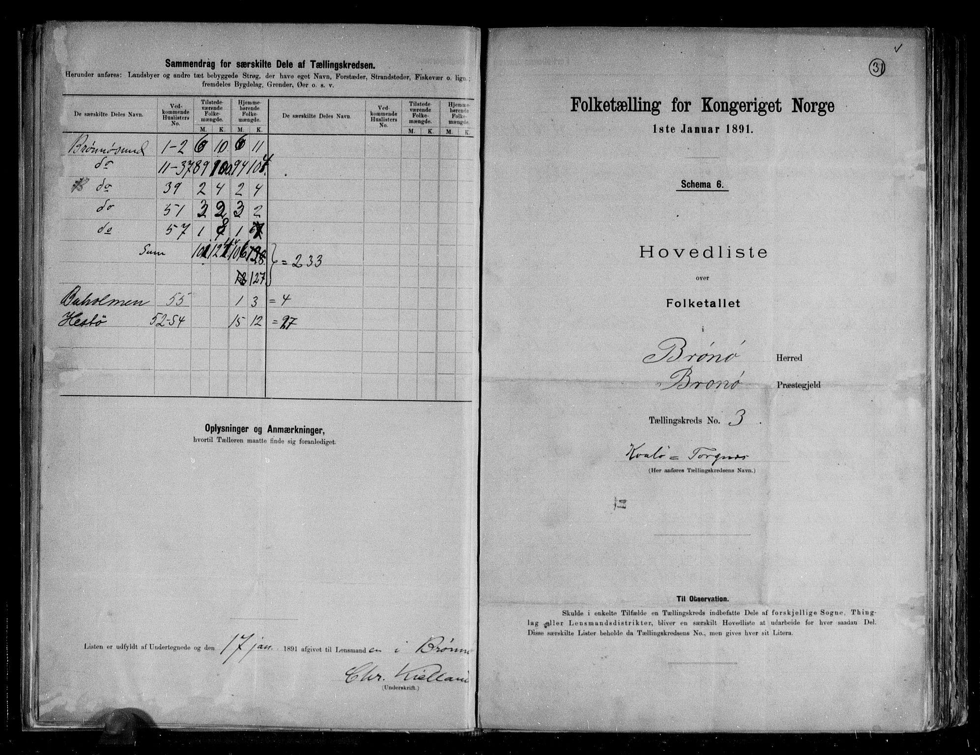 RA, Folketelling 1891 for 1814 Brønnøy herred, 1891, s. 9