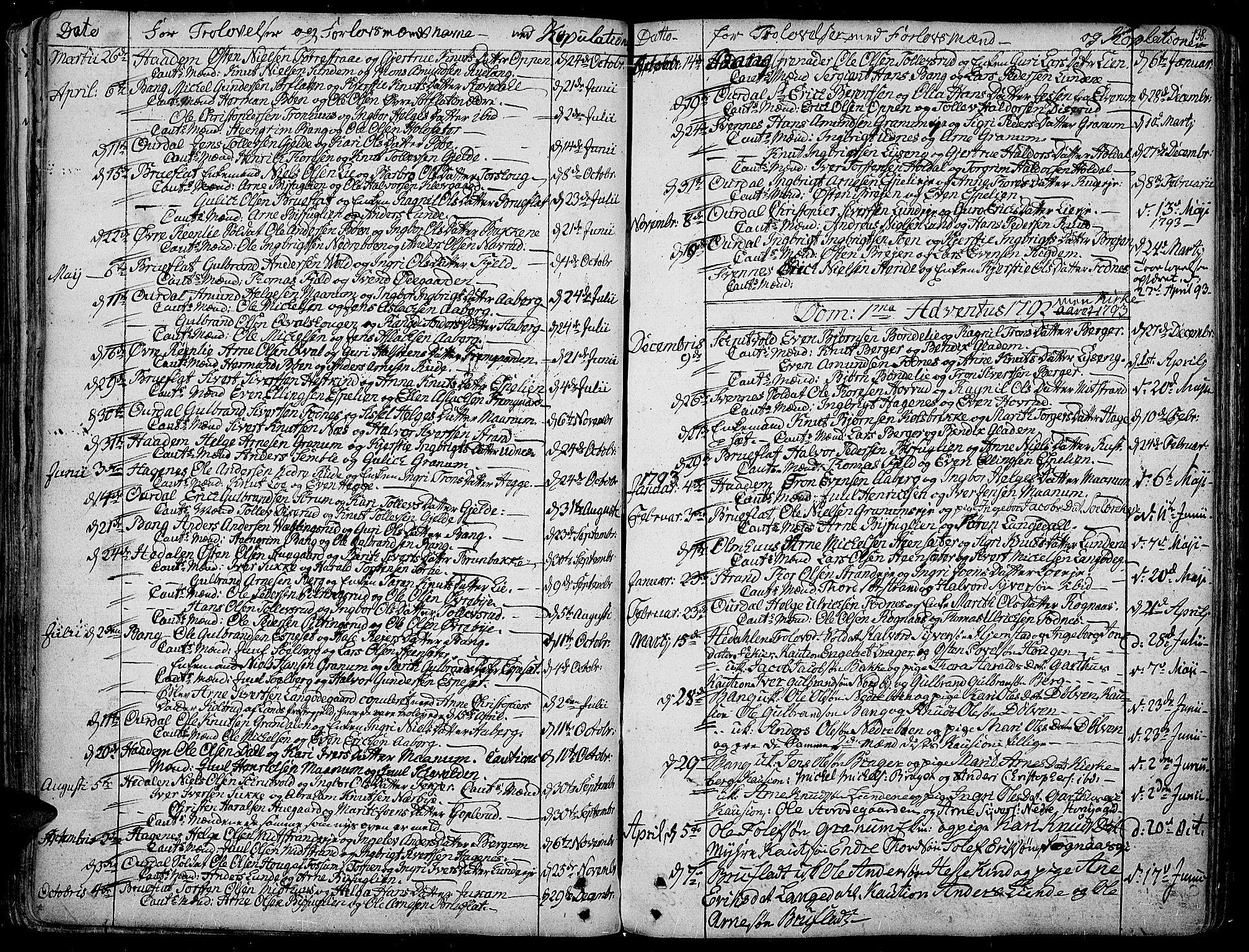 SAH, Aurdal prestekontor, Ministerialbok nr. 6, 1781-1804, s. 138