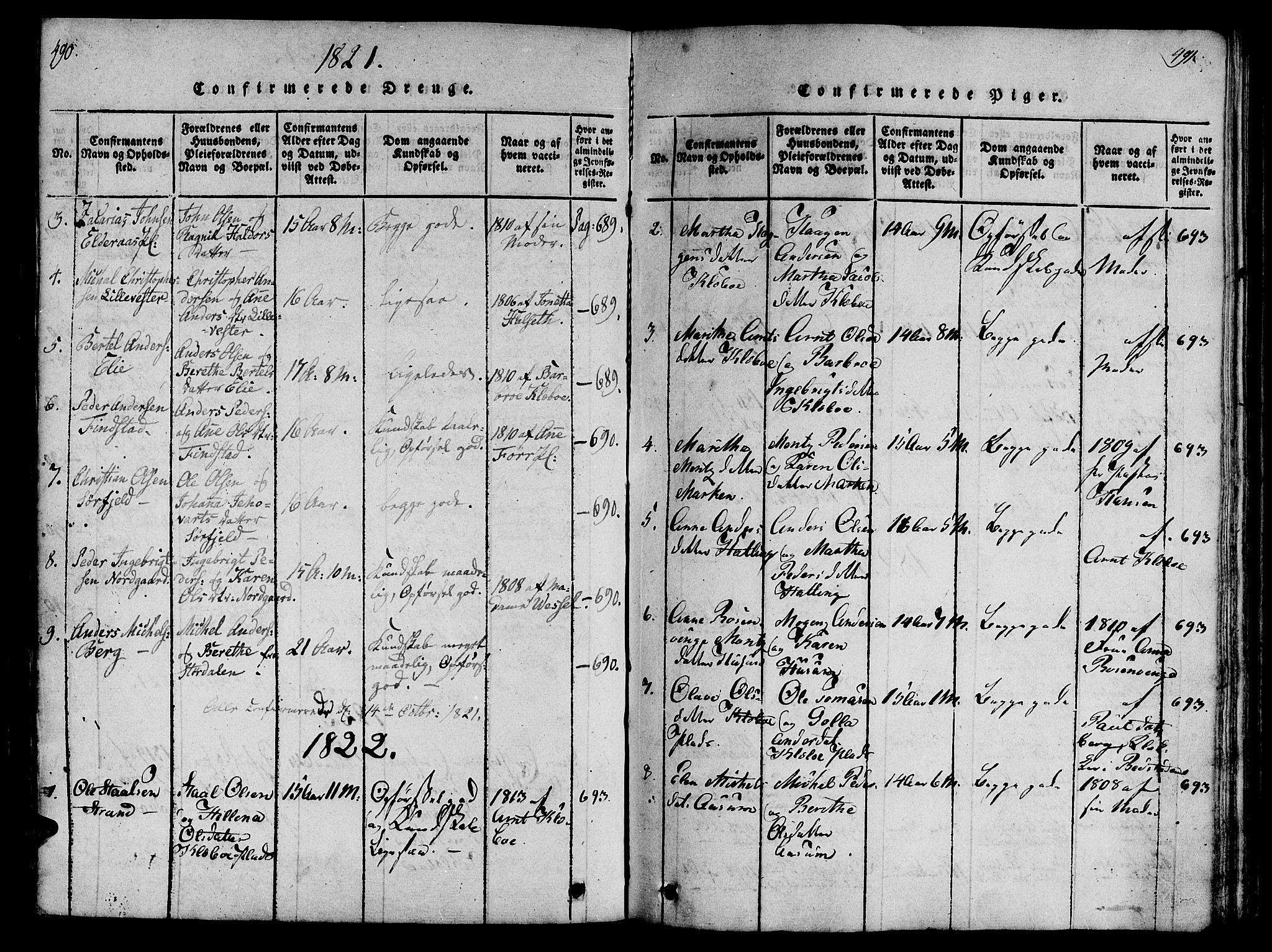 SAT, Ministerialprotokoller, klokkerbøker og fødselsregistre - Nord-Trøndelag, 746/L0441: Ministerialbok nr. 746A03 /1, 1816-1827, s. 490-491