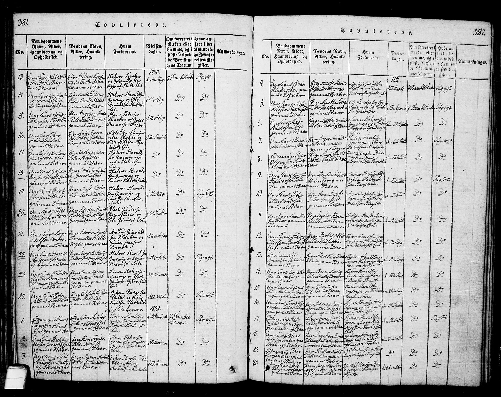SAKO, Bamble kirkebøker, G/Ga/L0005: Klokkerbok nr. I 5, 1814-1855, s. 381-382